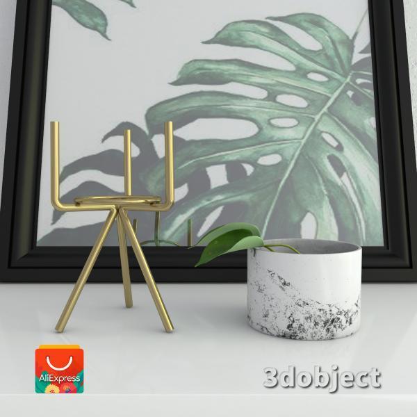 3d модель вазы с aliexpress и цветка антуриум_1