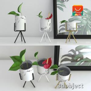 3d модель вазы с aliexpress и цветка антуриум_2