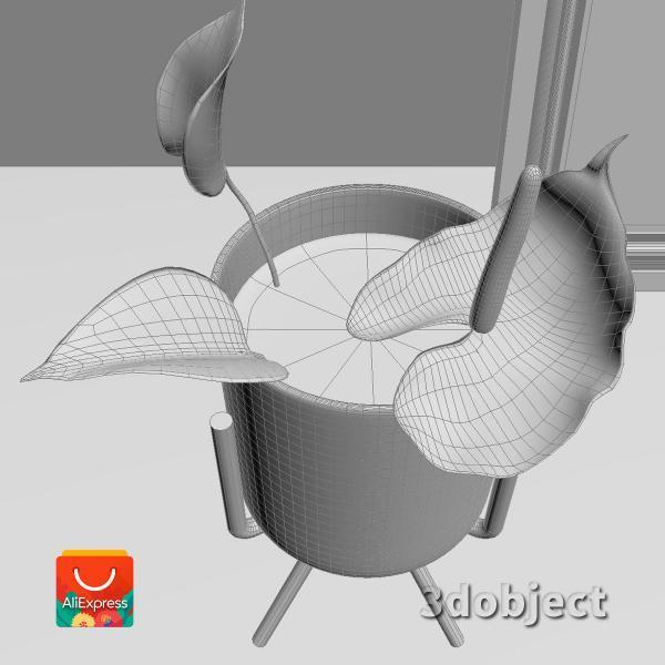 3d модель вазы с aliexpress и цветка антуриум_4