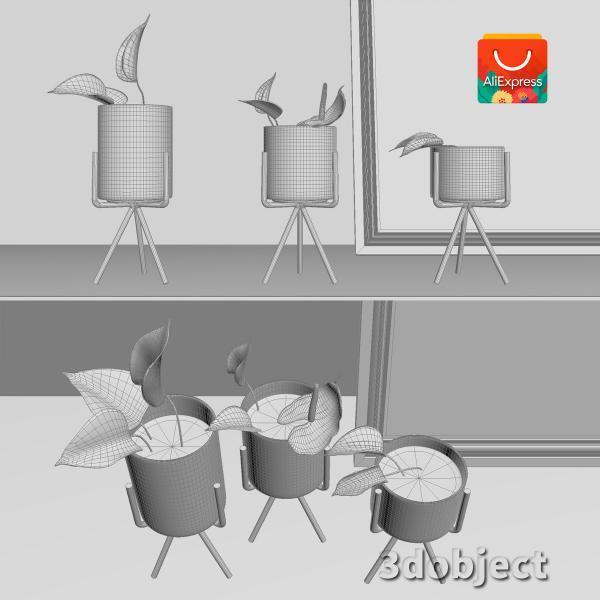 3d модель вазы с aliexpress и цветка антуриум_5