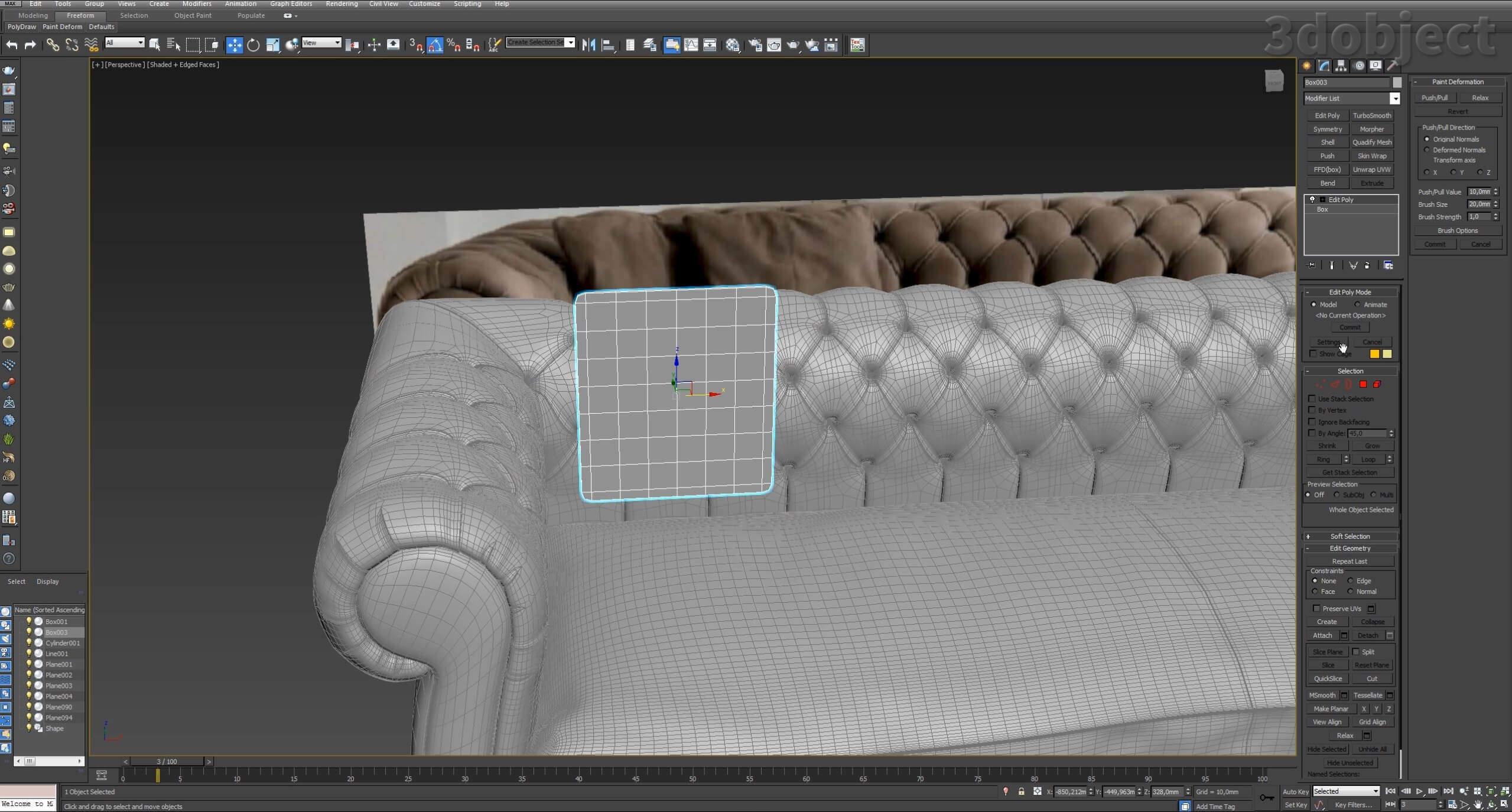 моделирование подушек для дивана в 3d max_1