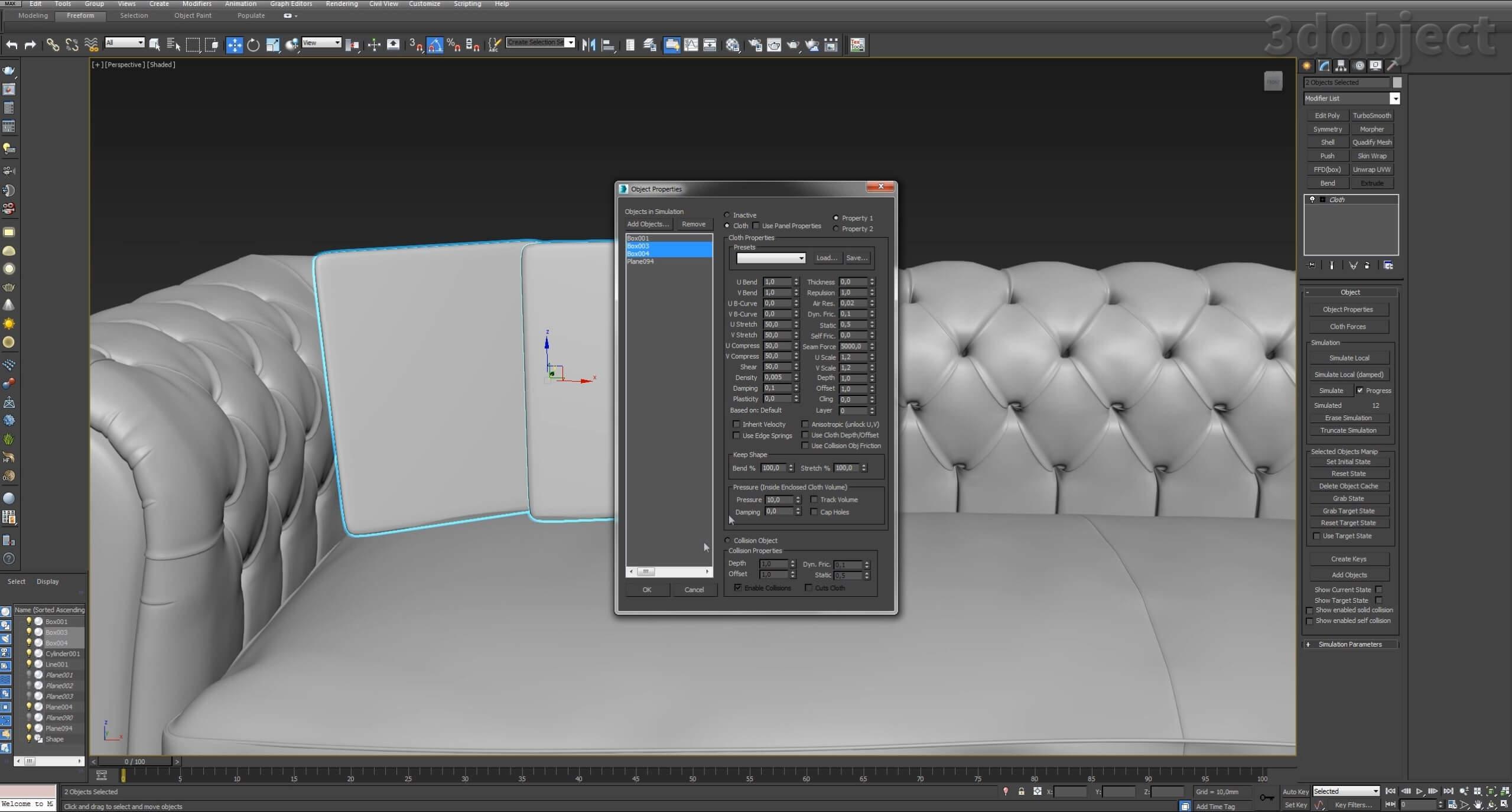 моделирование подушек для дивана в 3d max_2