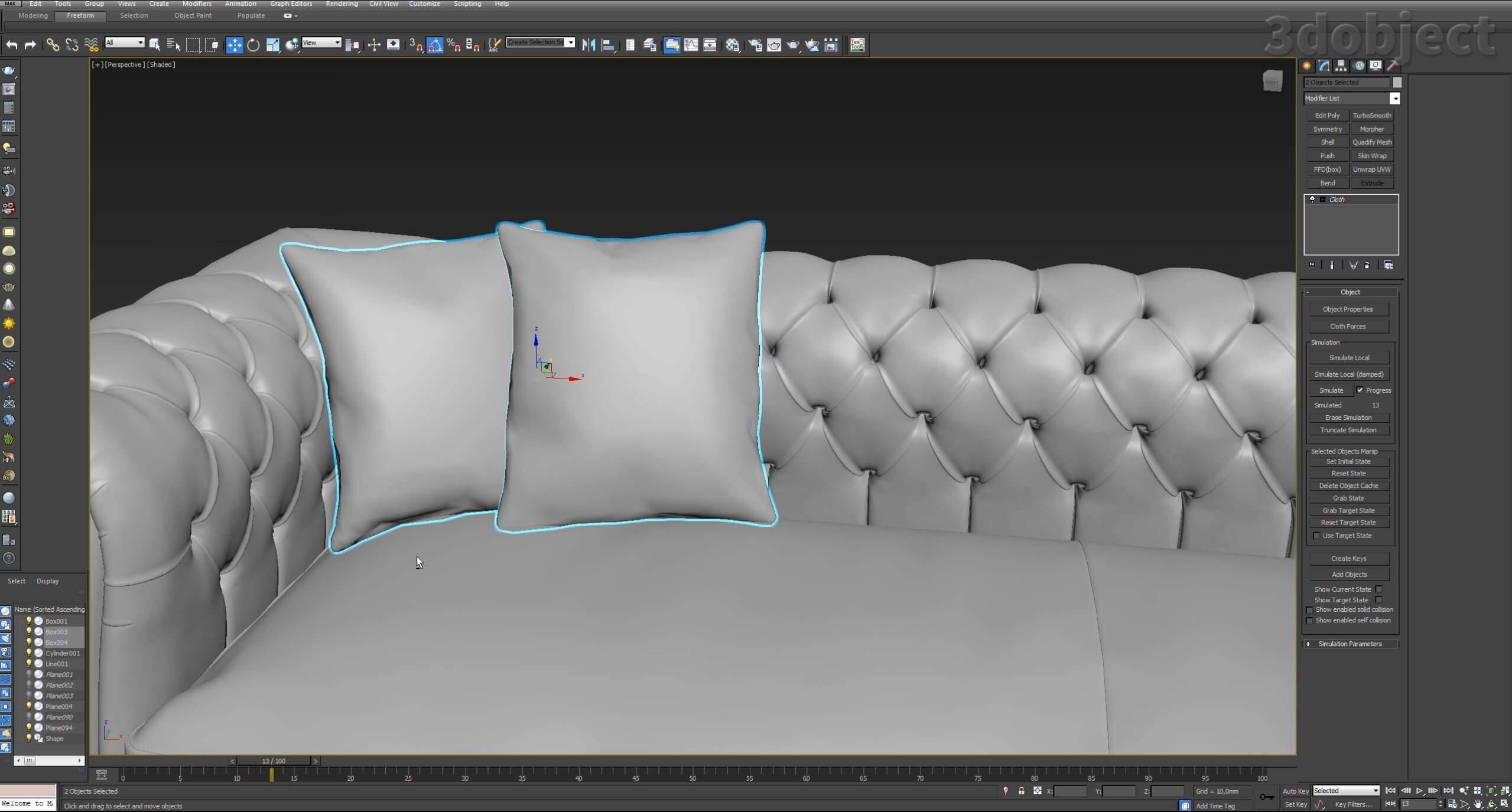 моделирование подушек для дивана в 3d max_3