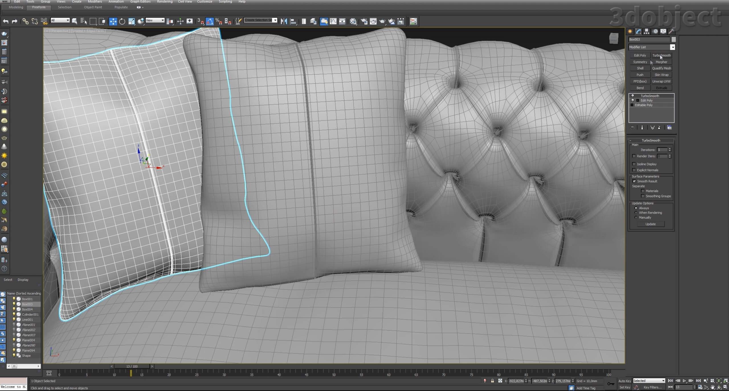 моделирование подушек для дивана в 3d max_4