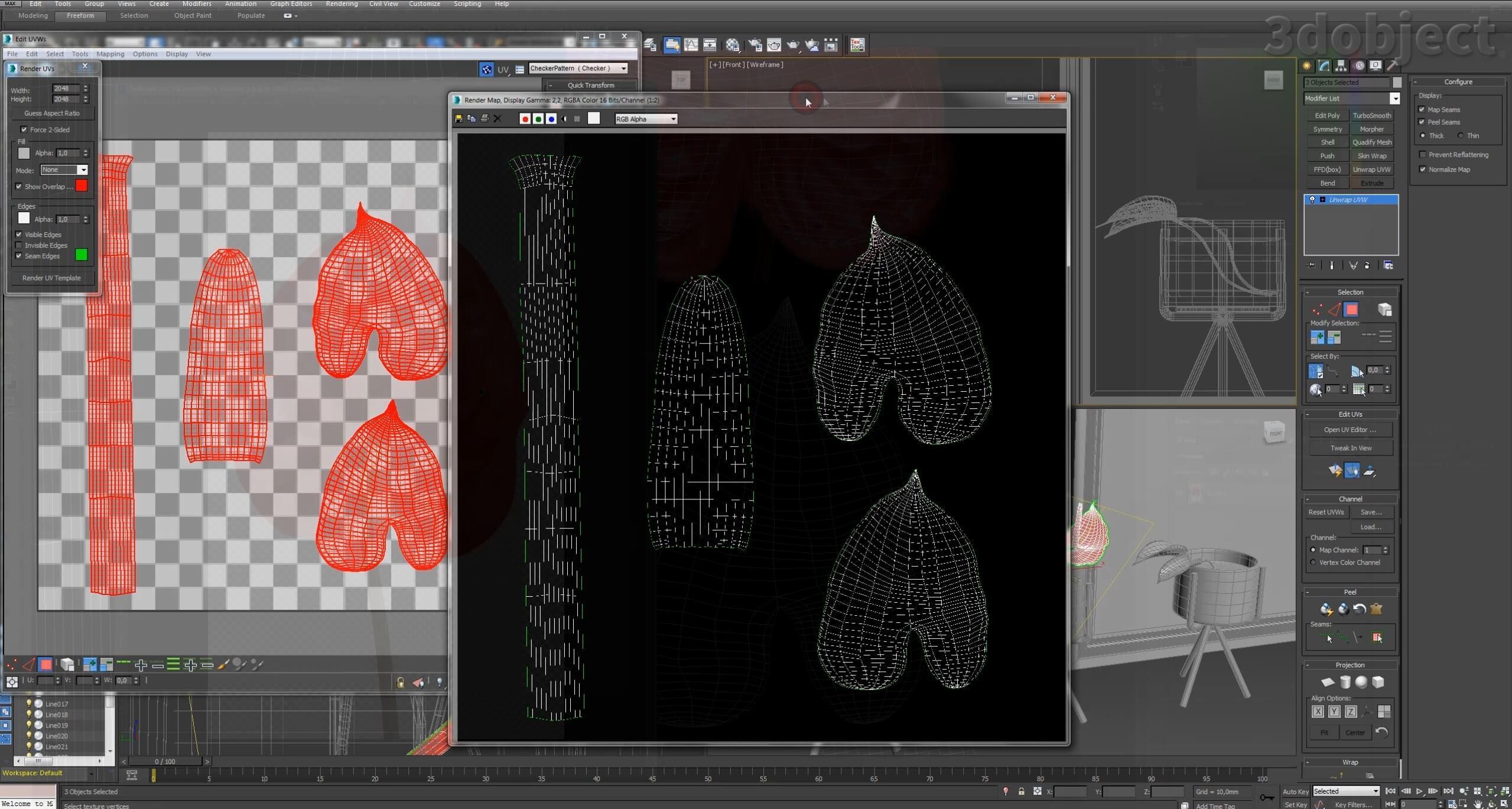 текстурирование цветка в 3d max_1