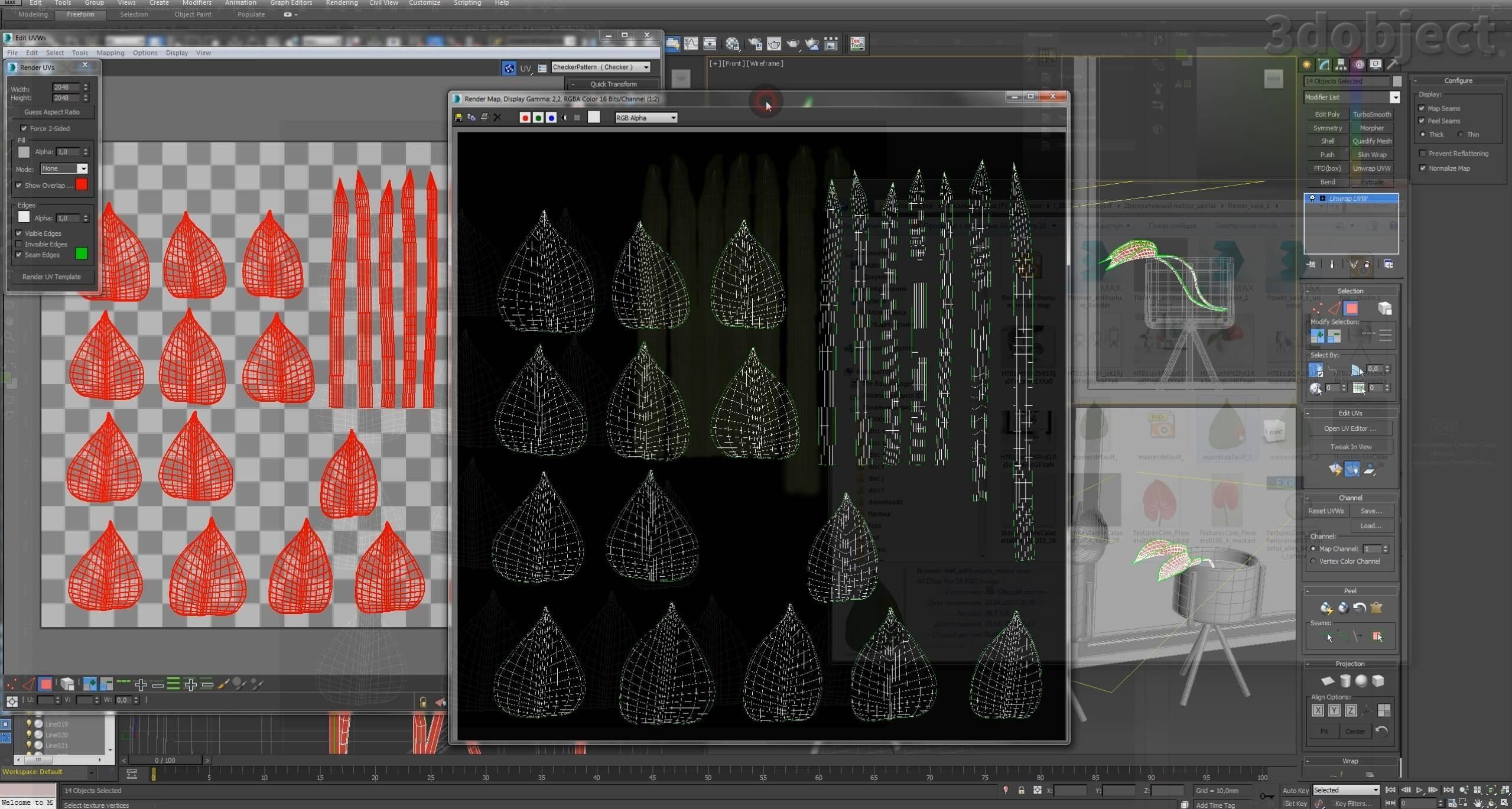 текстурирование цветка в 3d max_4