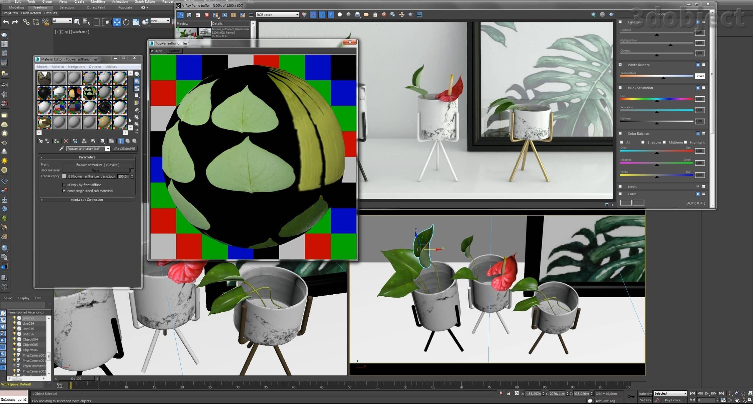 текстурирование цветка в 3d max_7