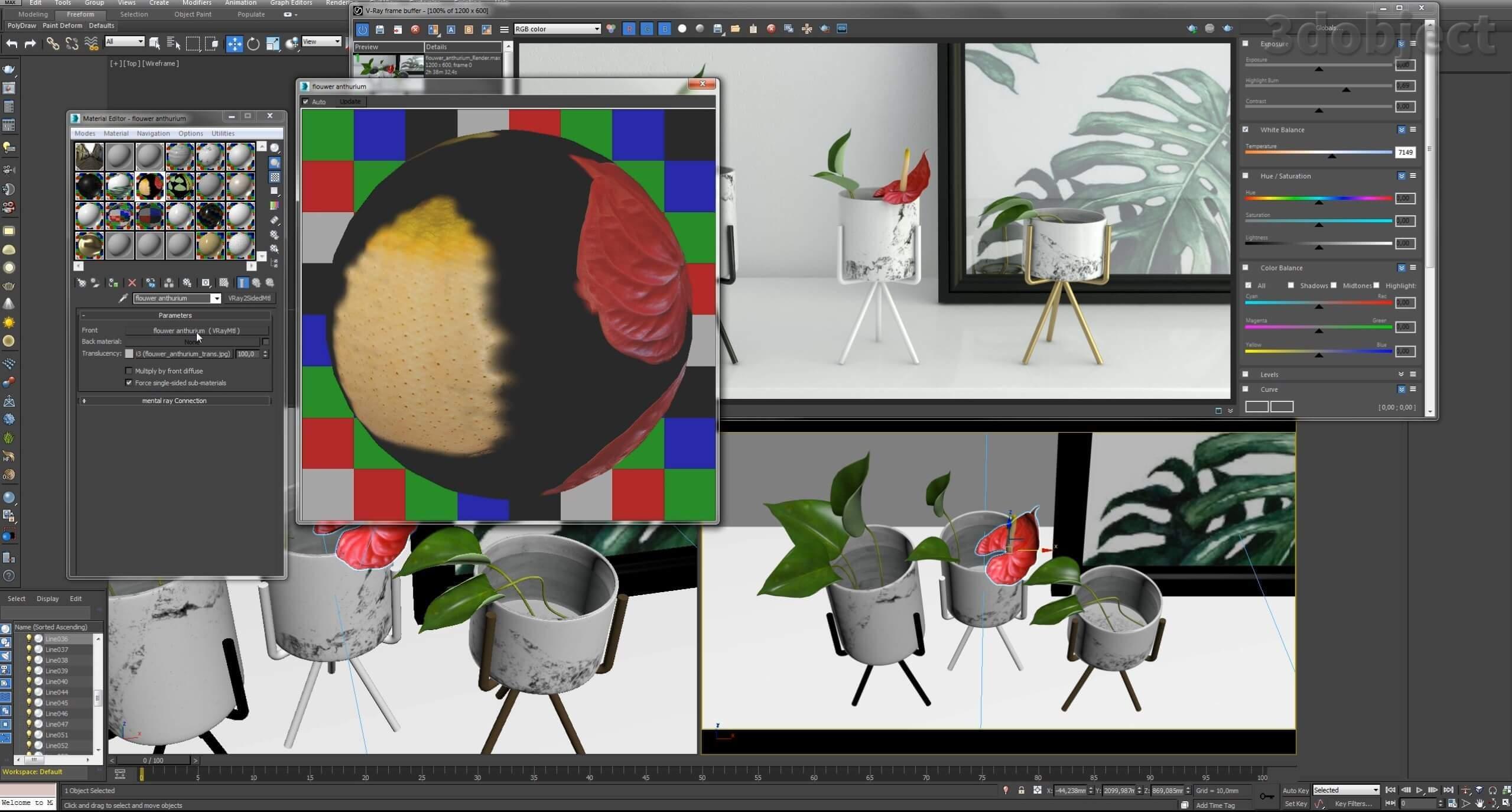 текстурирование цветка в 3d max_8
