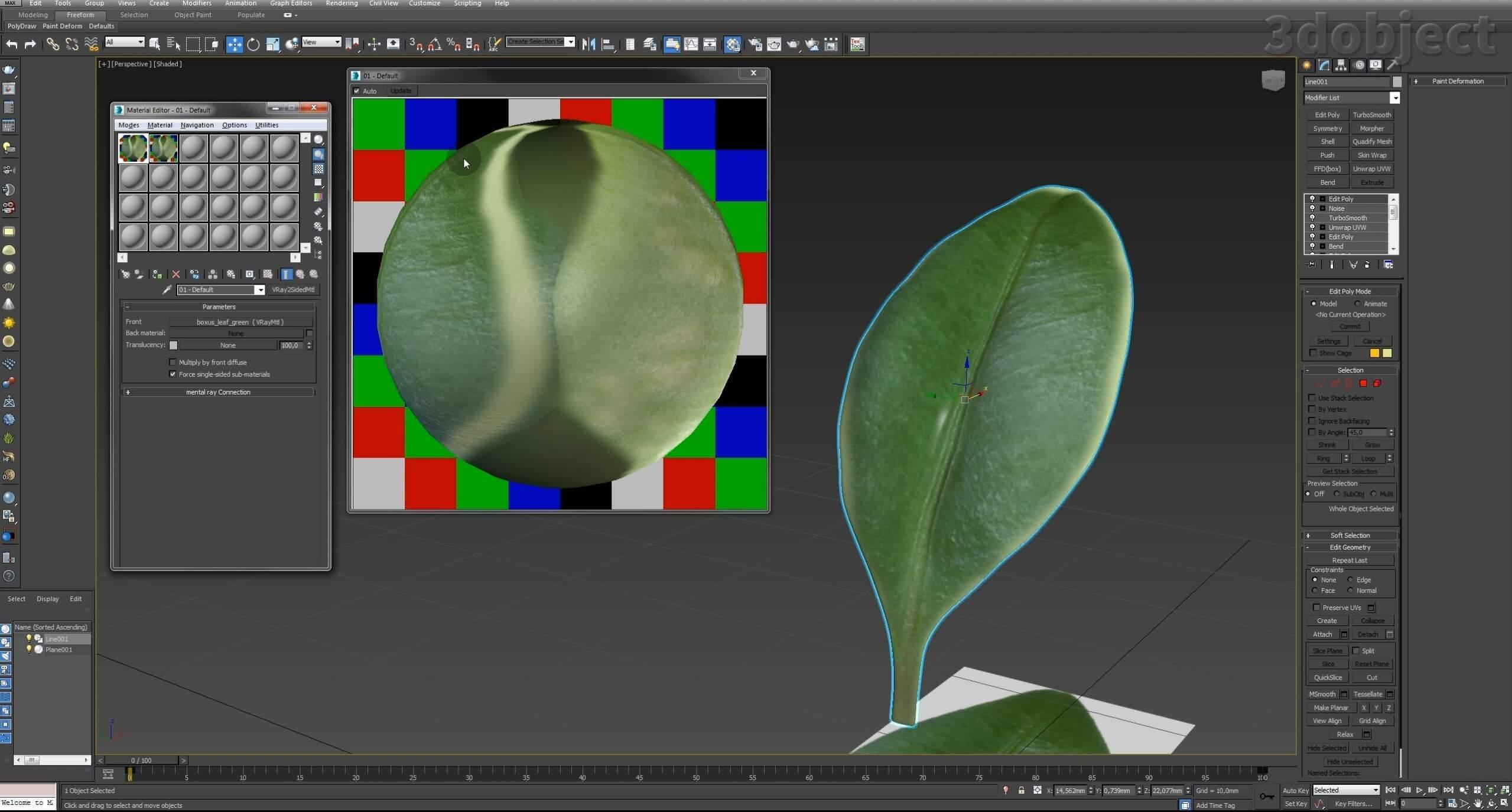 Моделирование Самшит плагином MultiScatter в 3d max. Текстурирование в photoshop. VRay2SidedMtl_13