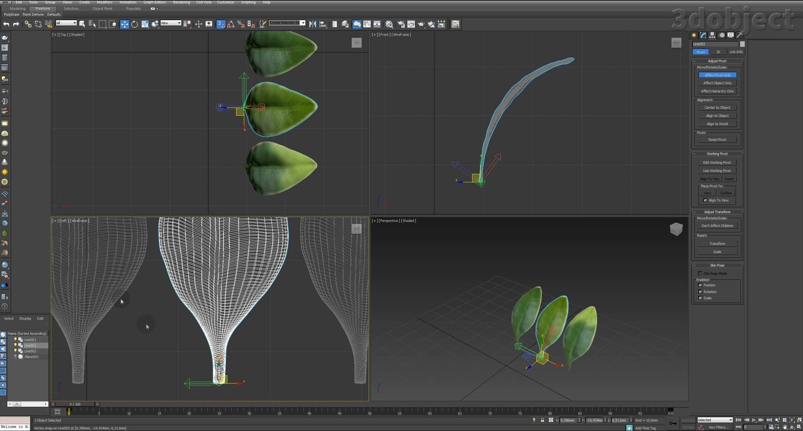 Моделирование Самшит плагином MultiScatter в 3d max. Текстурирование в photoshop. VRay2SidedMtl_15