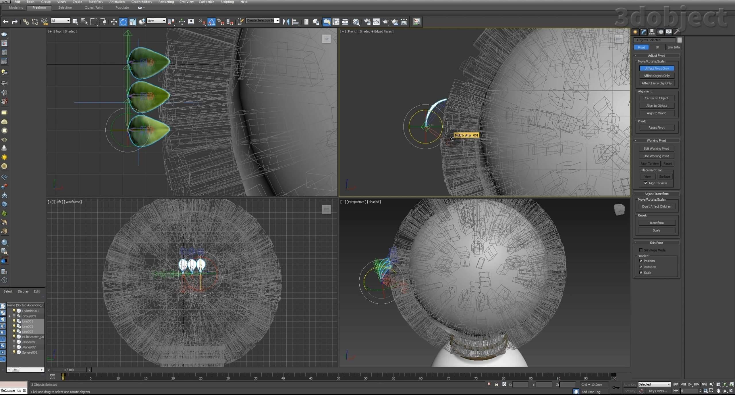 Моделирование Самшит плагином MultiScatter в 3d max. Текстурирование в photoshop. VRay2SidedMtl_19
