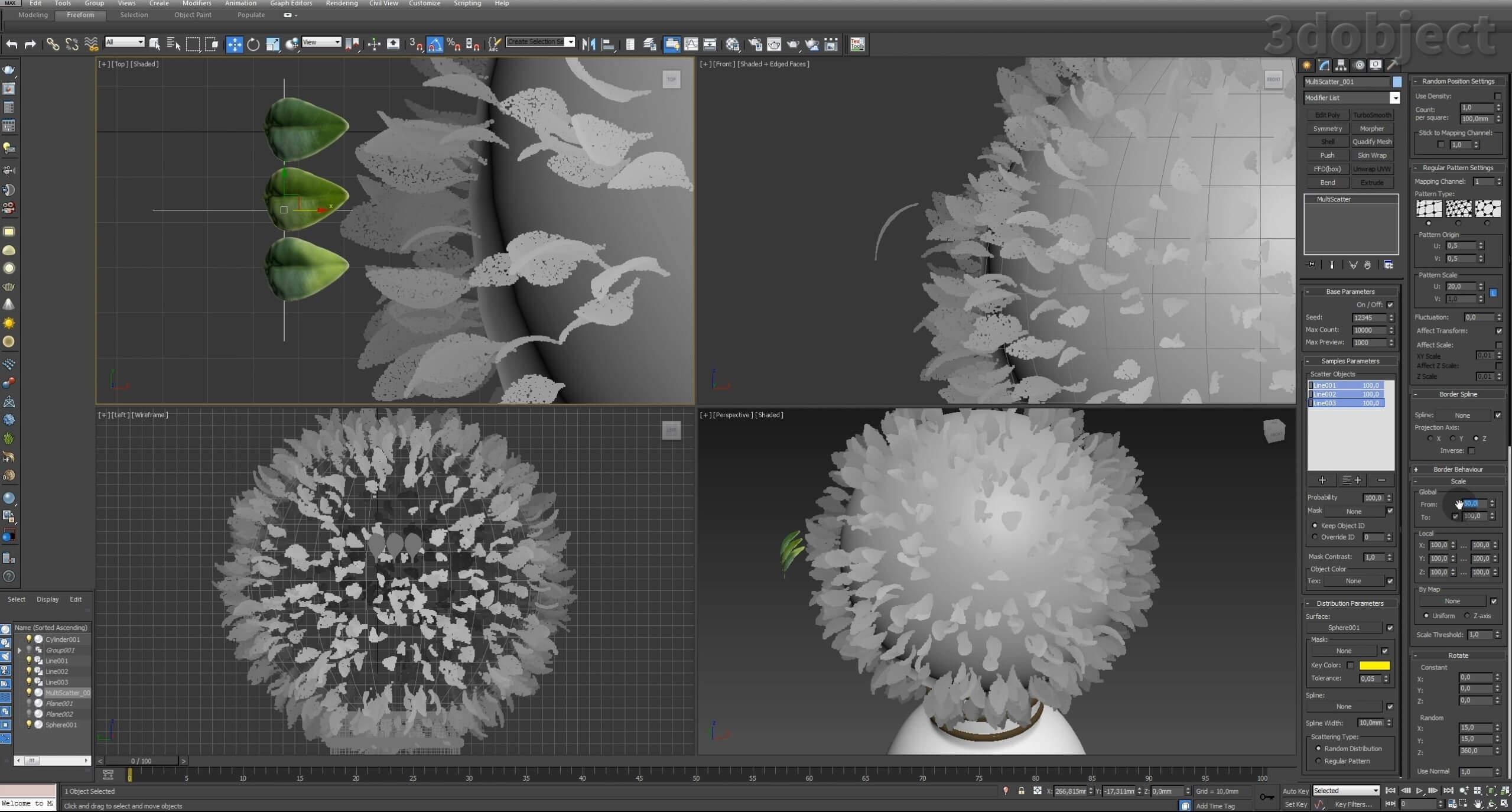 Моделирование Самшит плагином MultiScatter в 3d max. Текстурирование в photoshop. VRay2SidedMtl_21