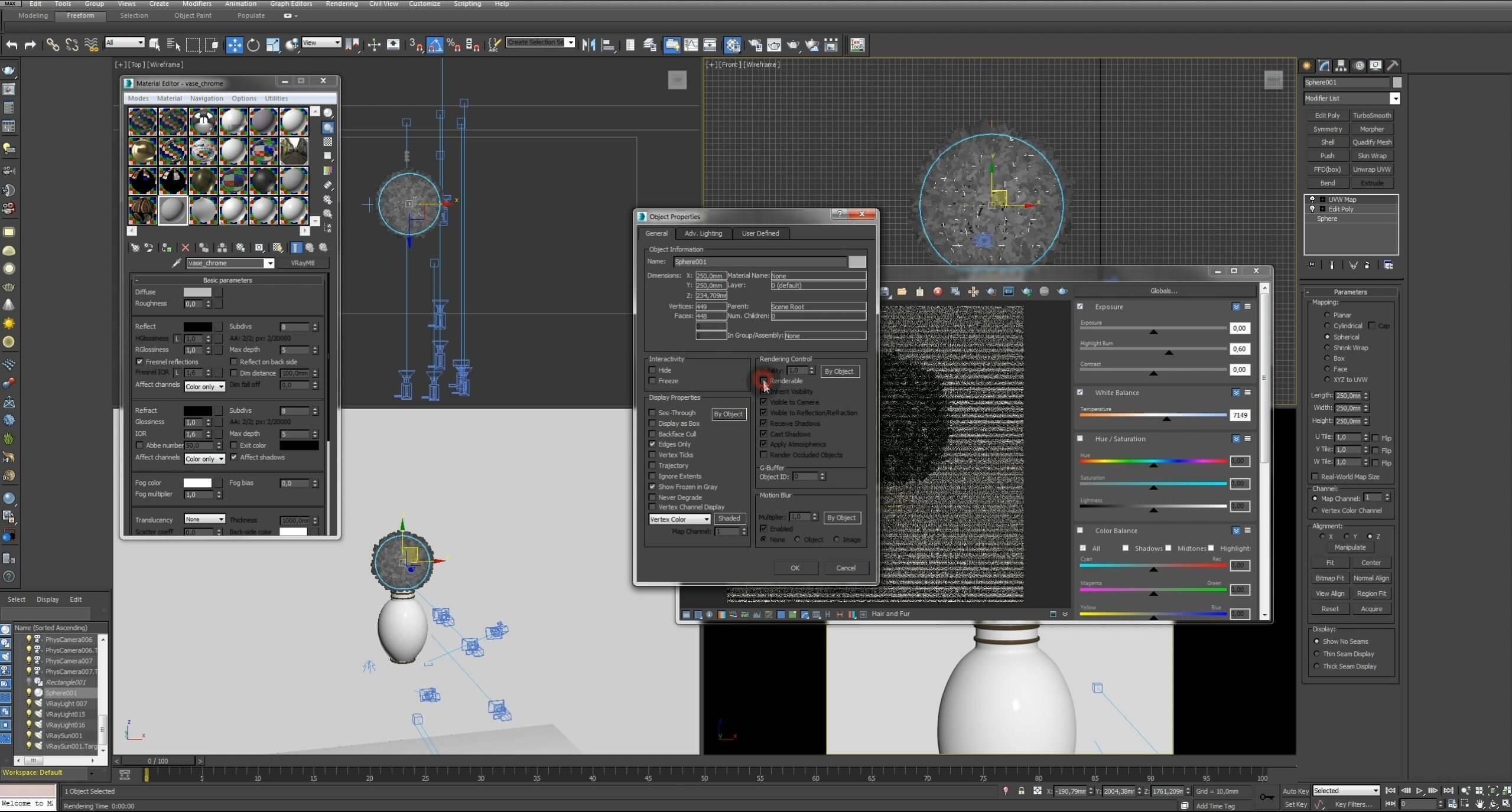 Моделирование Самшит плагином MultiScatter в 3d max. Текстурирование в photoshop. VRay2SidedMtl_25