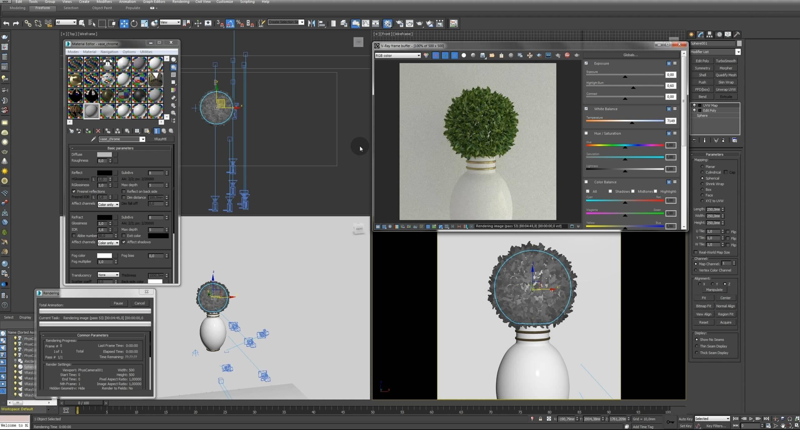 Моделирование Самшит плагином MultiScatter в 3d max. Текстурирование в photoshop. VRay2SidedMtl_26