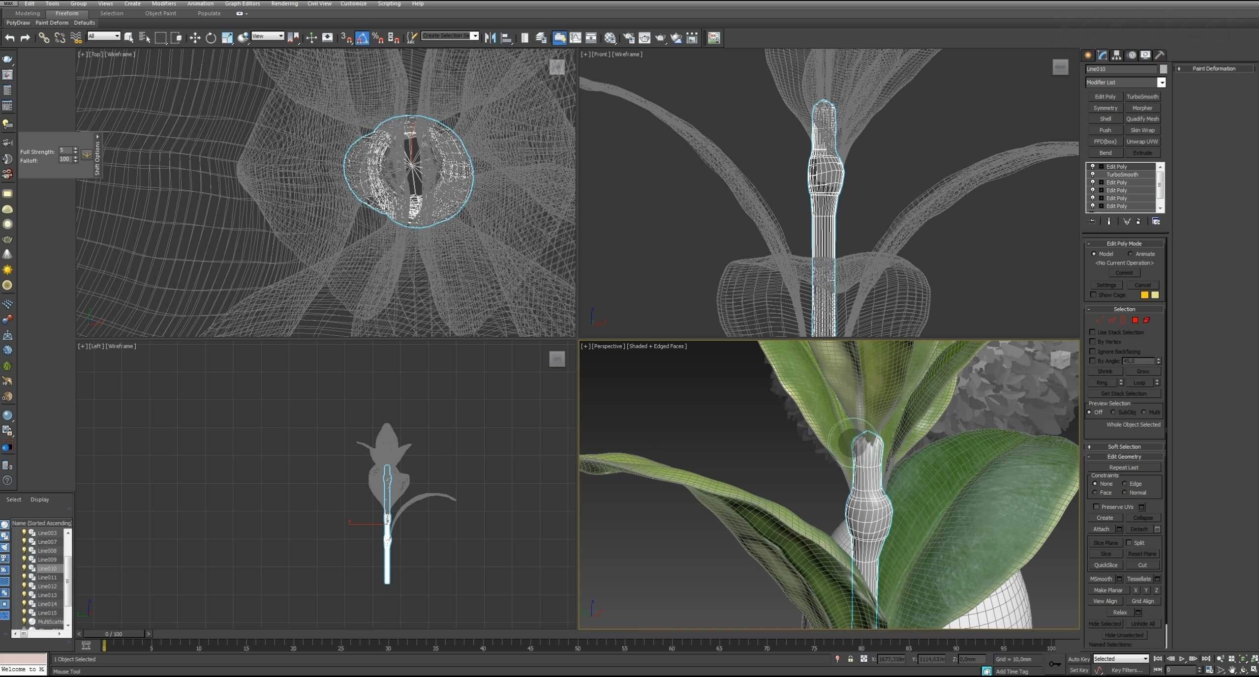 Моделирование Самшит плагином MultiScatter в 3d max. Текстурирование в photoshop. VRay2SidedMtl_27