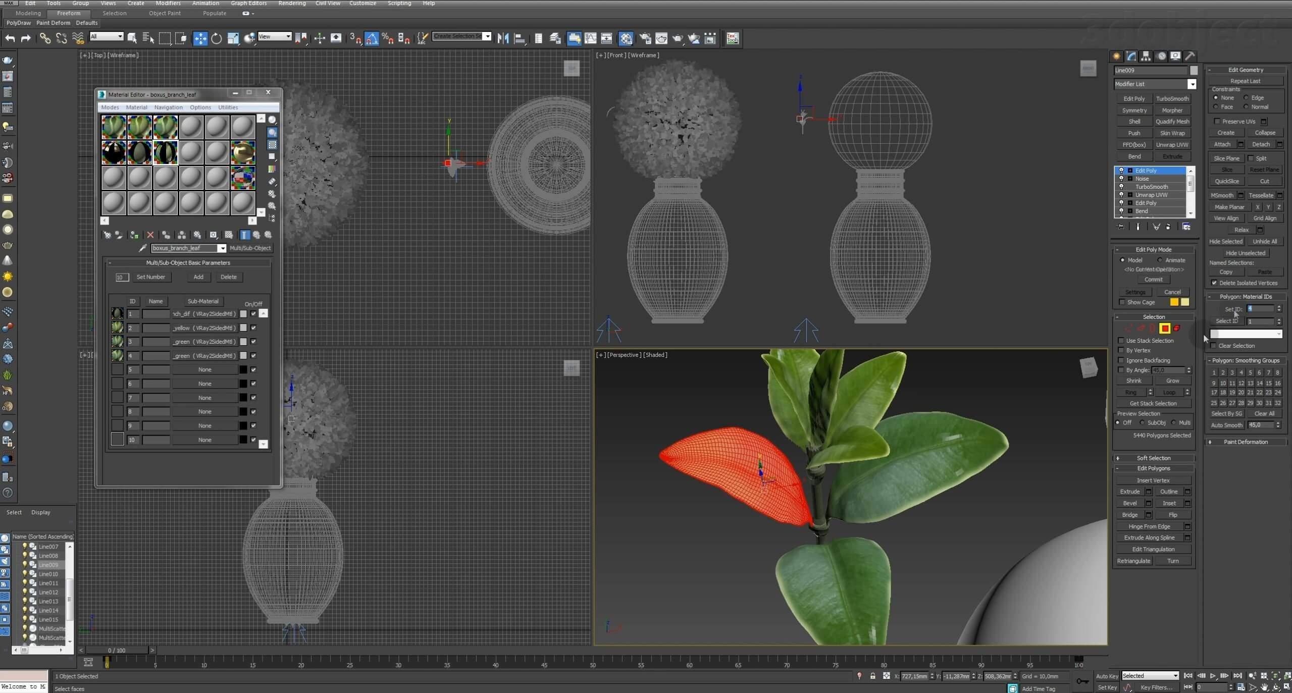 Моделирование Самшит плагином MultiScatter в 3d max. Текстурирование в photoshop. VRay2SidedMtl_30