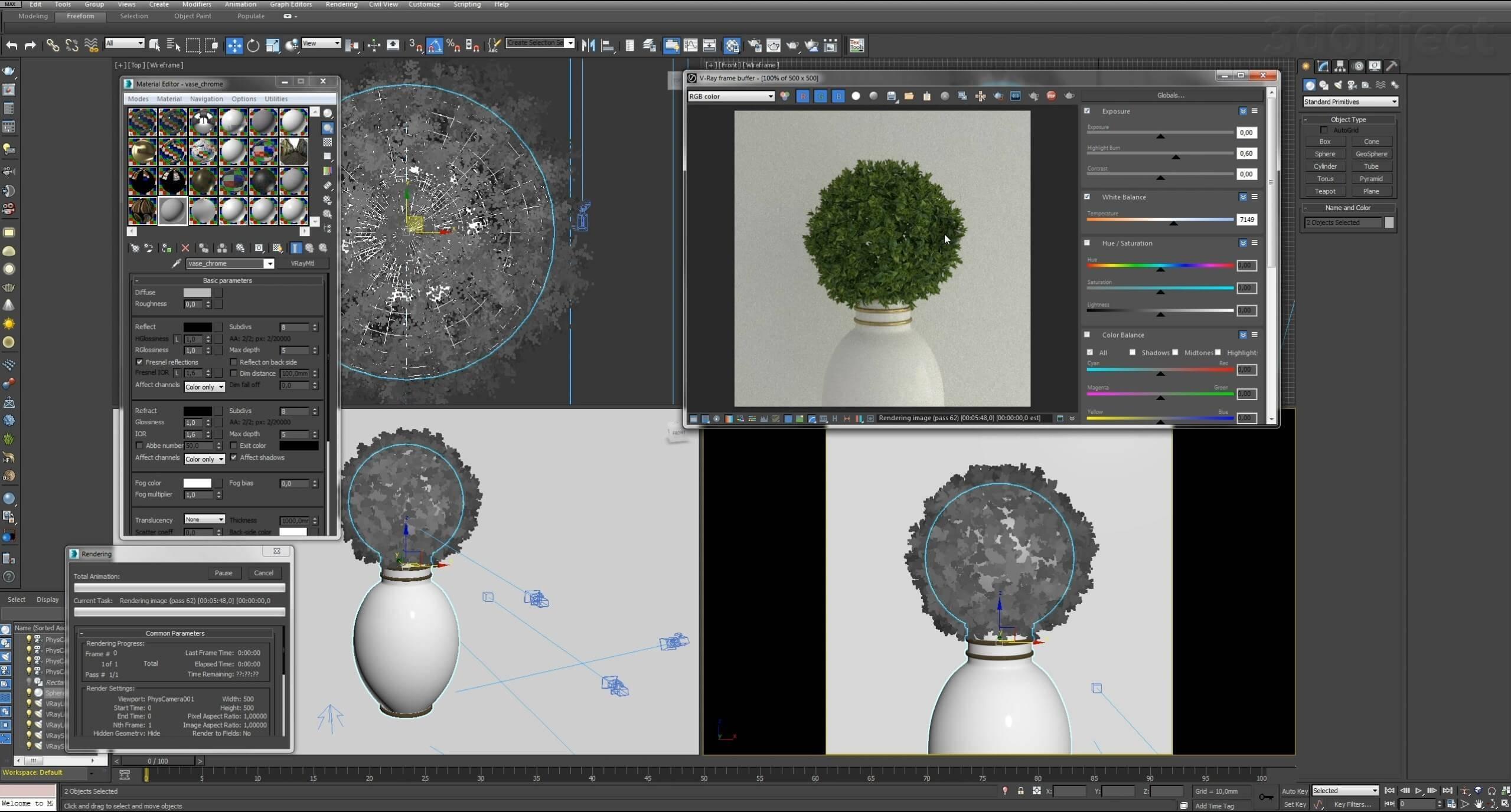 Моделирование Самшит плагином MultiScatter в 3d max. Текстурирование в photoshop. VRay2SidedMtl_32