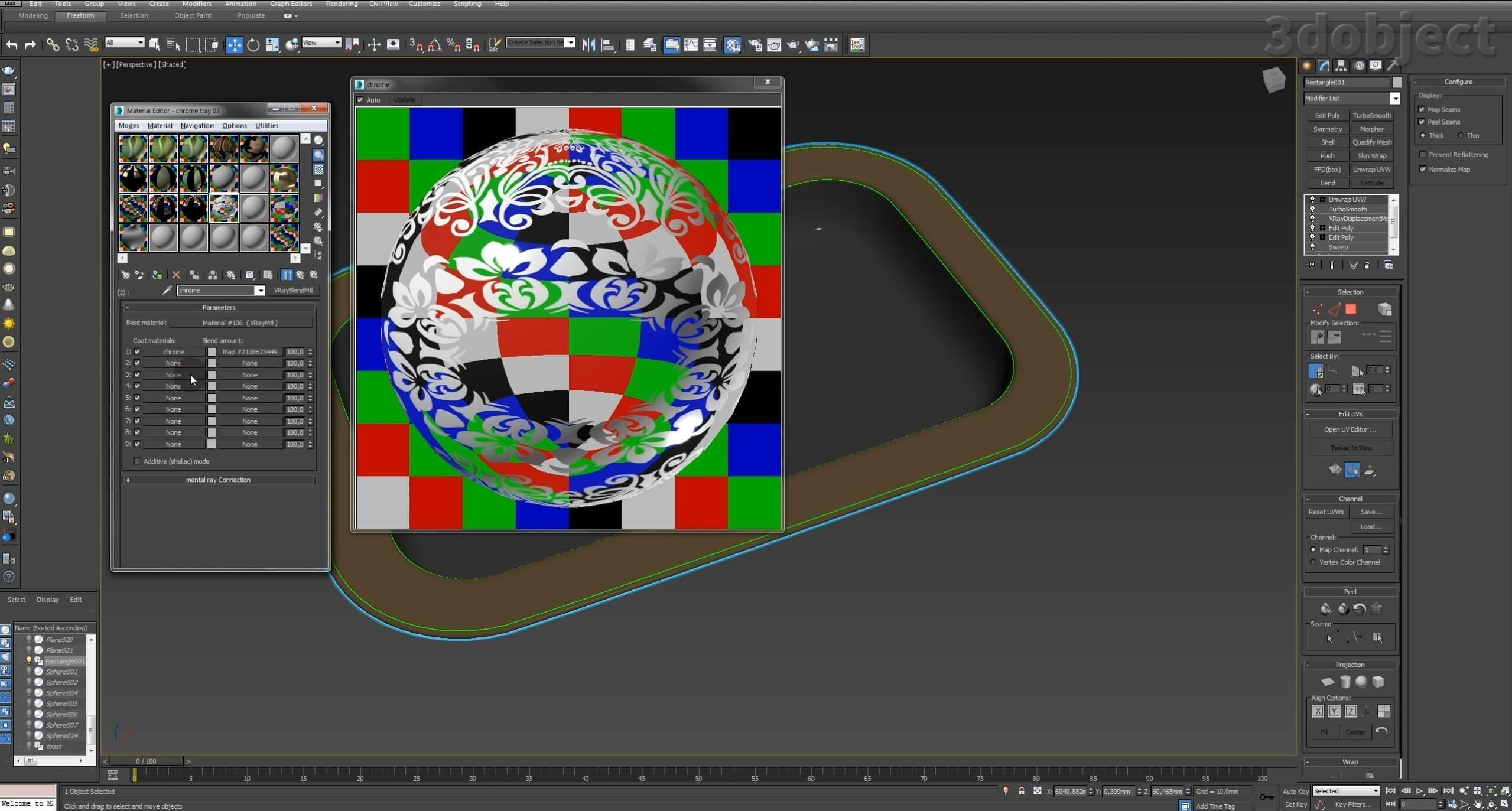 Моделирование декоративного подноса в 3d max. VRayDisplacementMod_12
