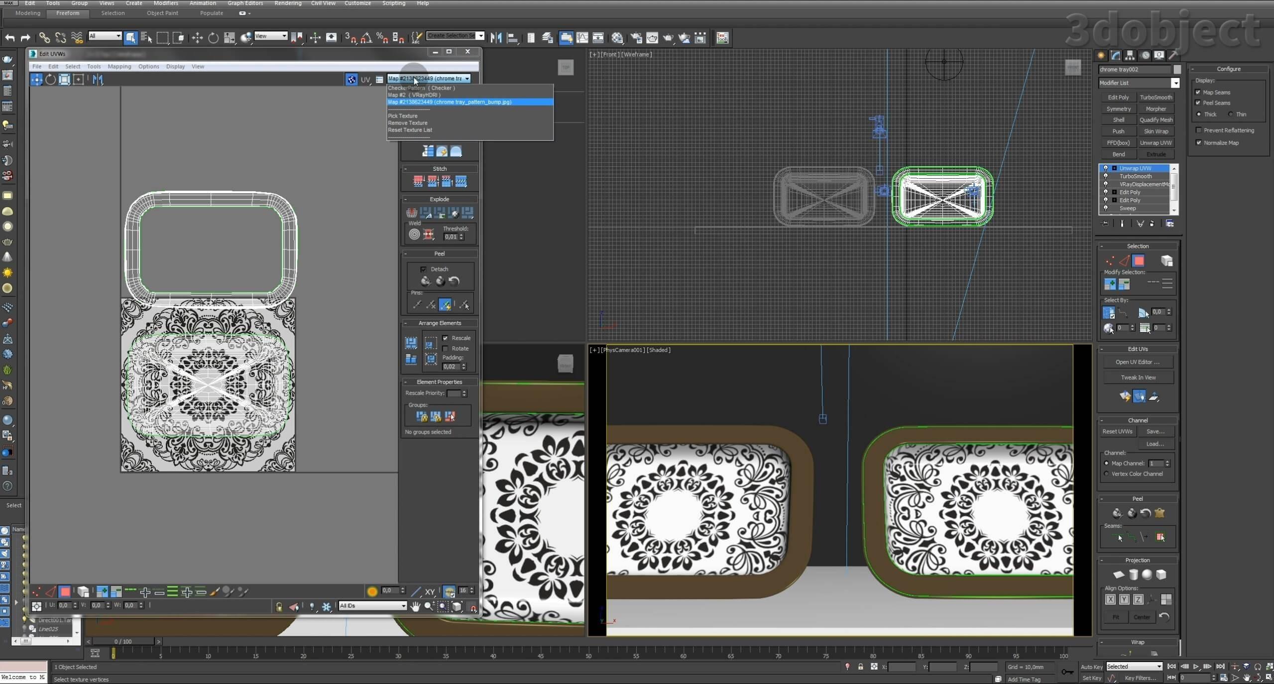 Моделирование декоративного подноса в 3d max. VRayDisplacementMod_14