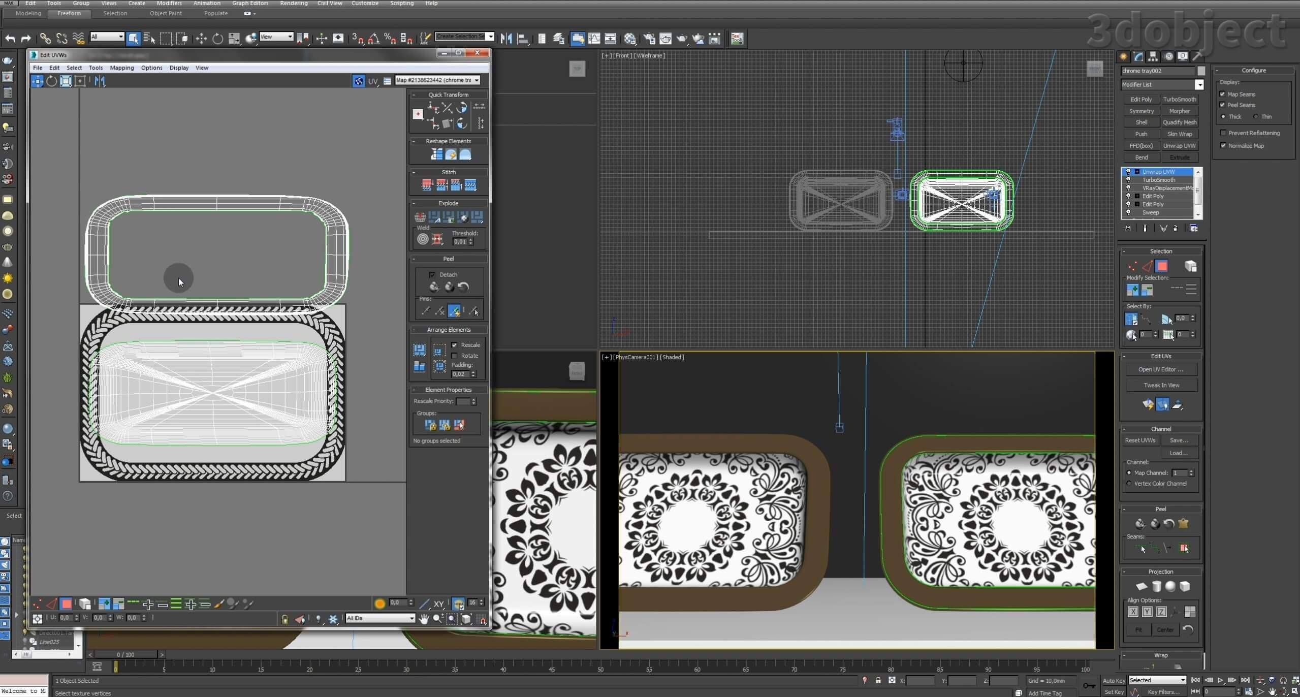 Моделирование декоративного подноса в 3d max. VRayDisplacementMod_15