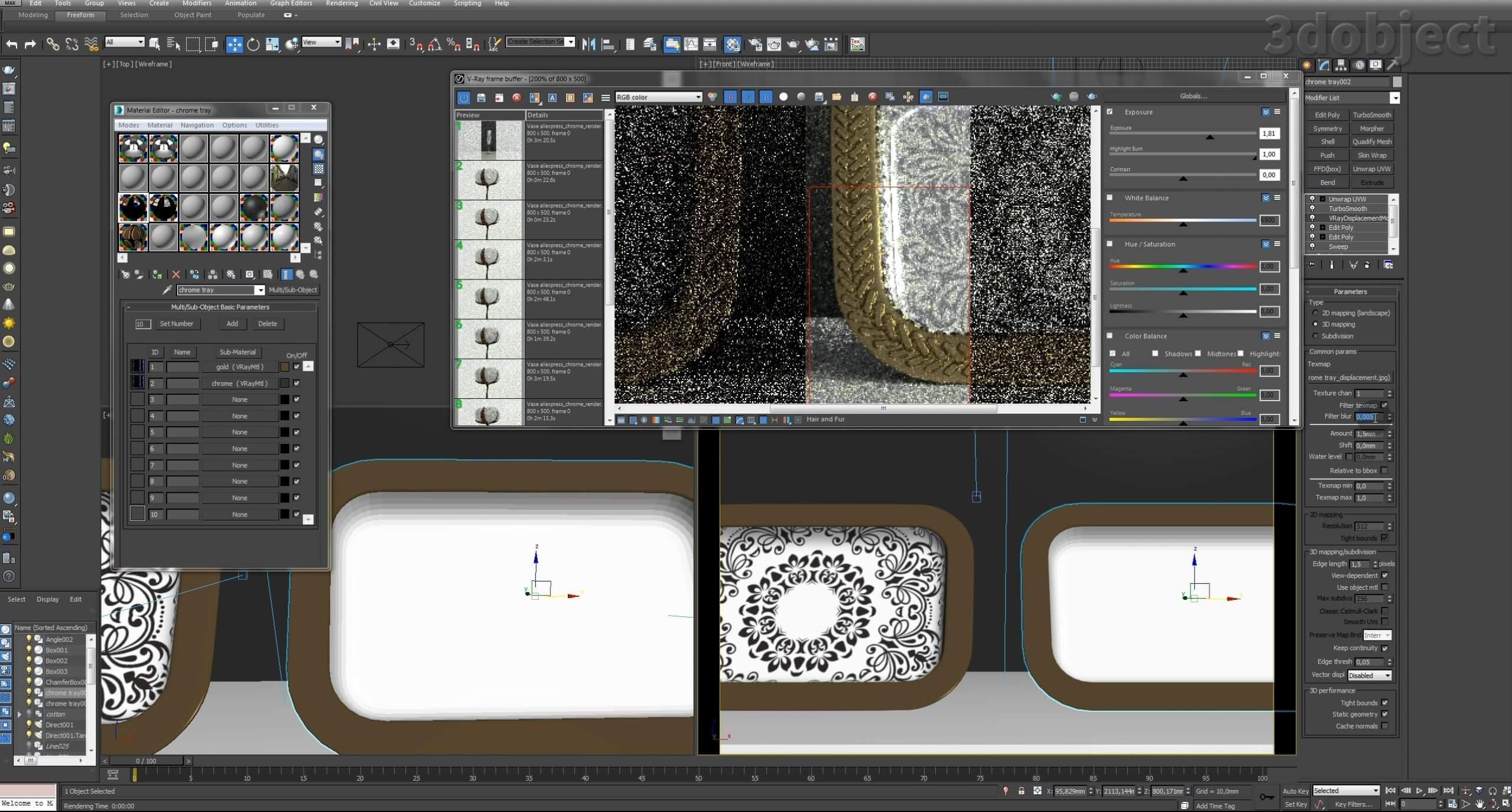 Моделирование декоративного подноса в 3d max. VRayDisplacementMod_18
