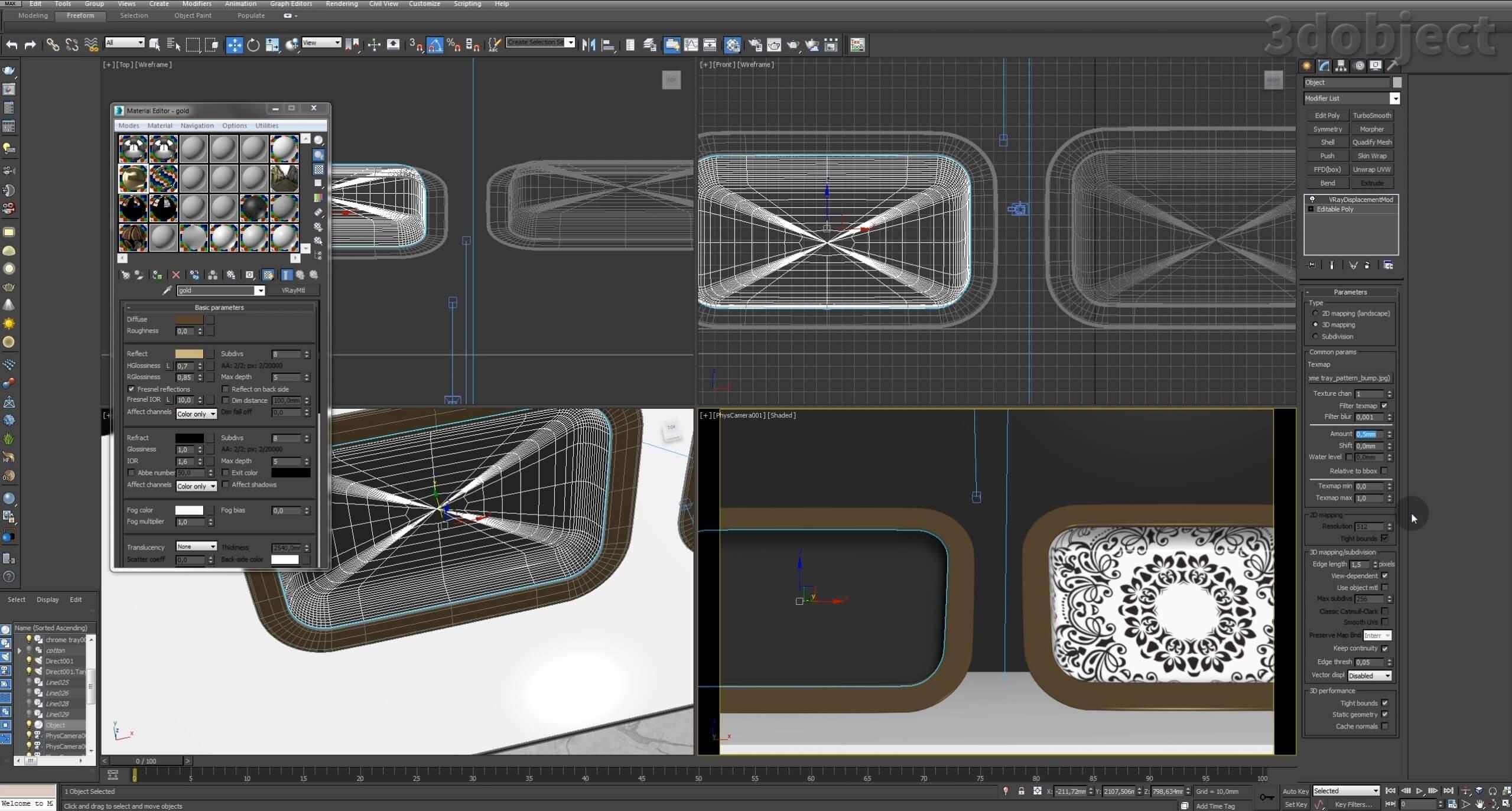 Моделирование декоративного подноса в 3d max. VRayDisplacementMod_22