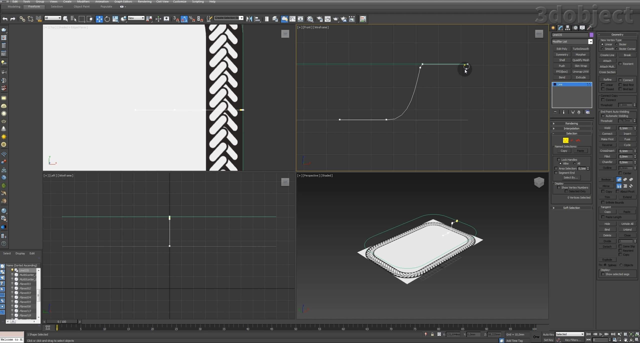 Моделирование декоративного подноса в 3d max. VRayDisplacementMod_3