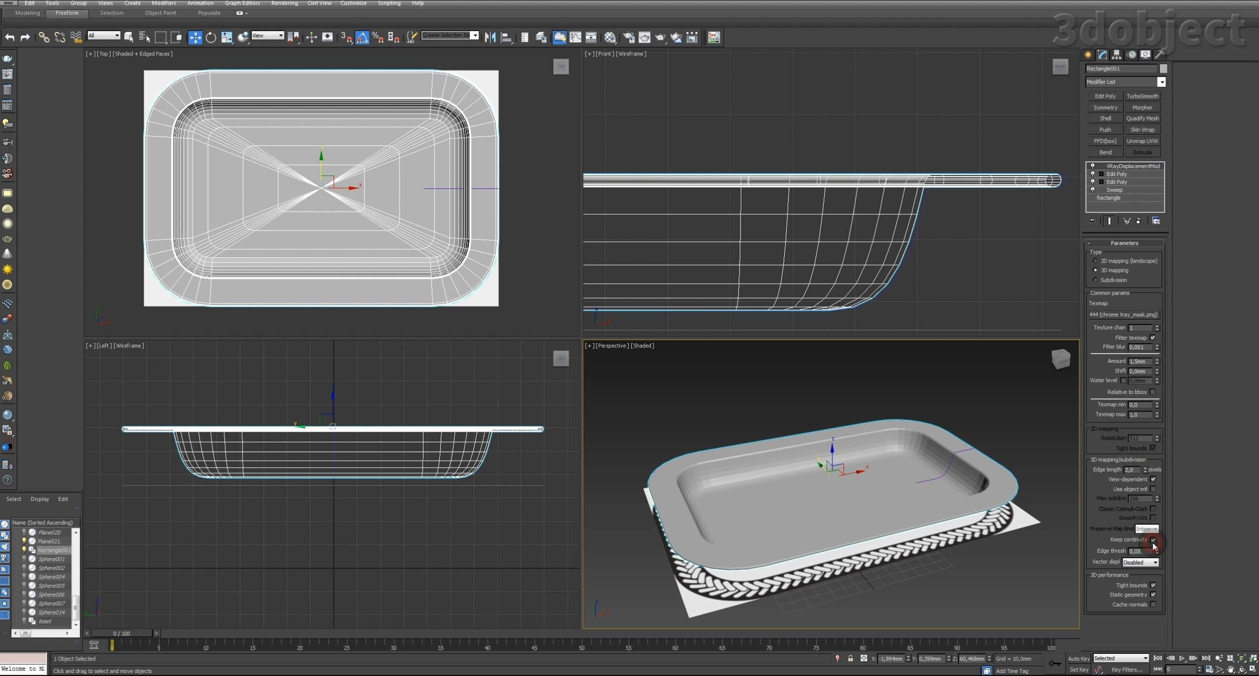 Моделирование декоративного подноса в 3d max. VRayDisplacementMod_7