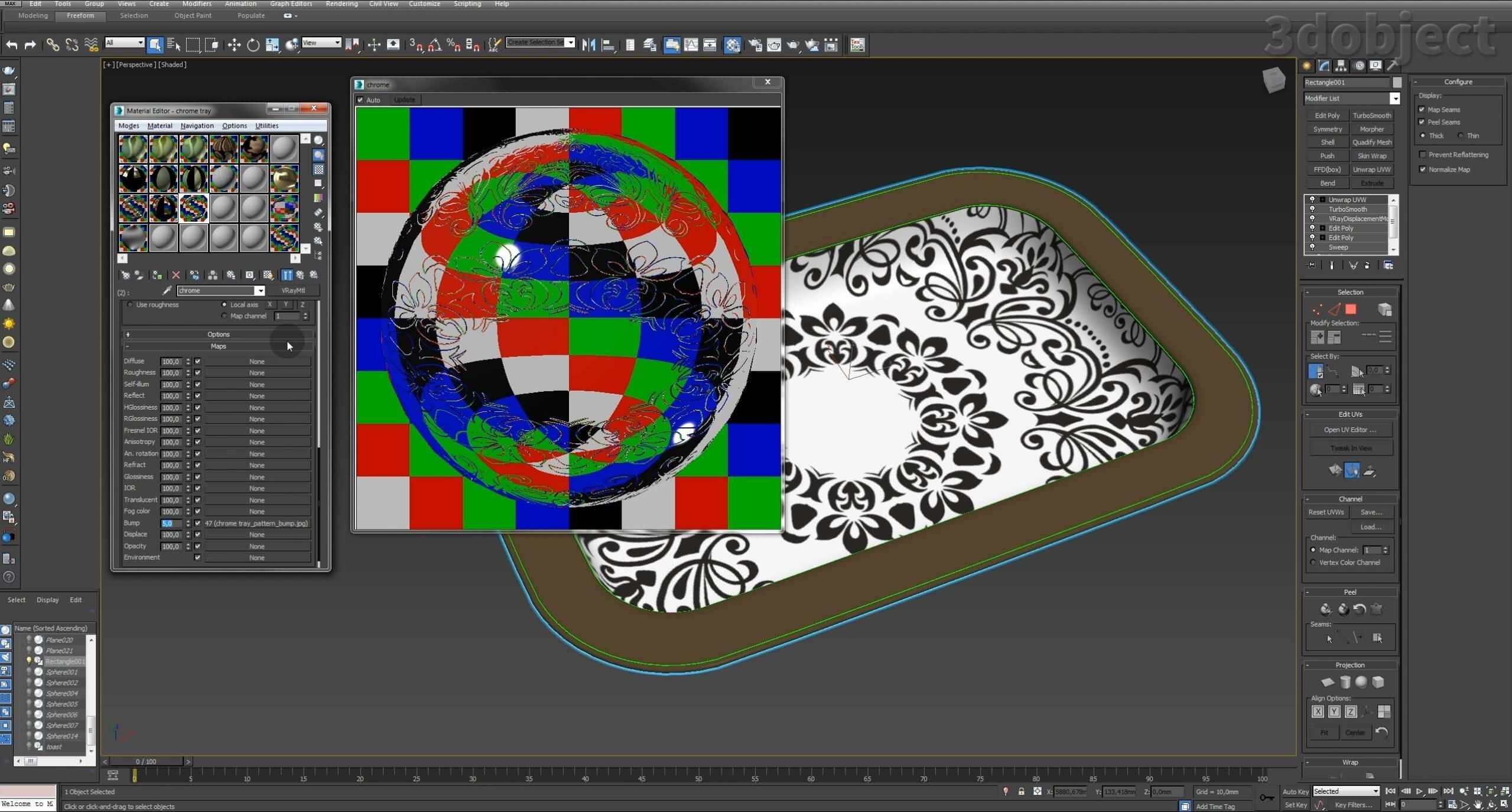 Моделирование декоративного подноса в 3d max. VRayDisplacementMod_9