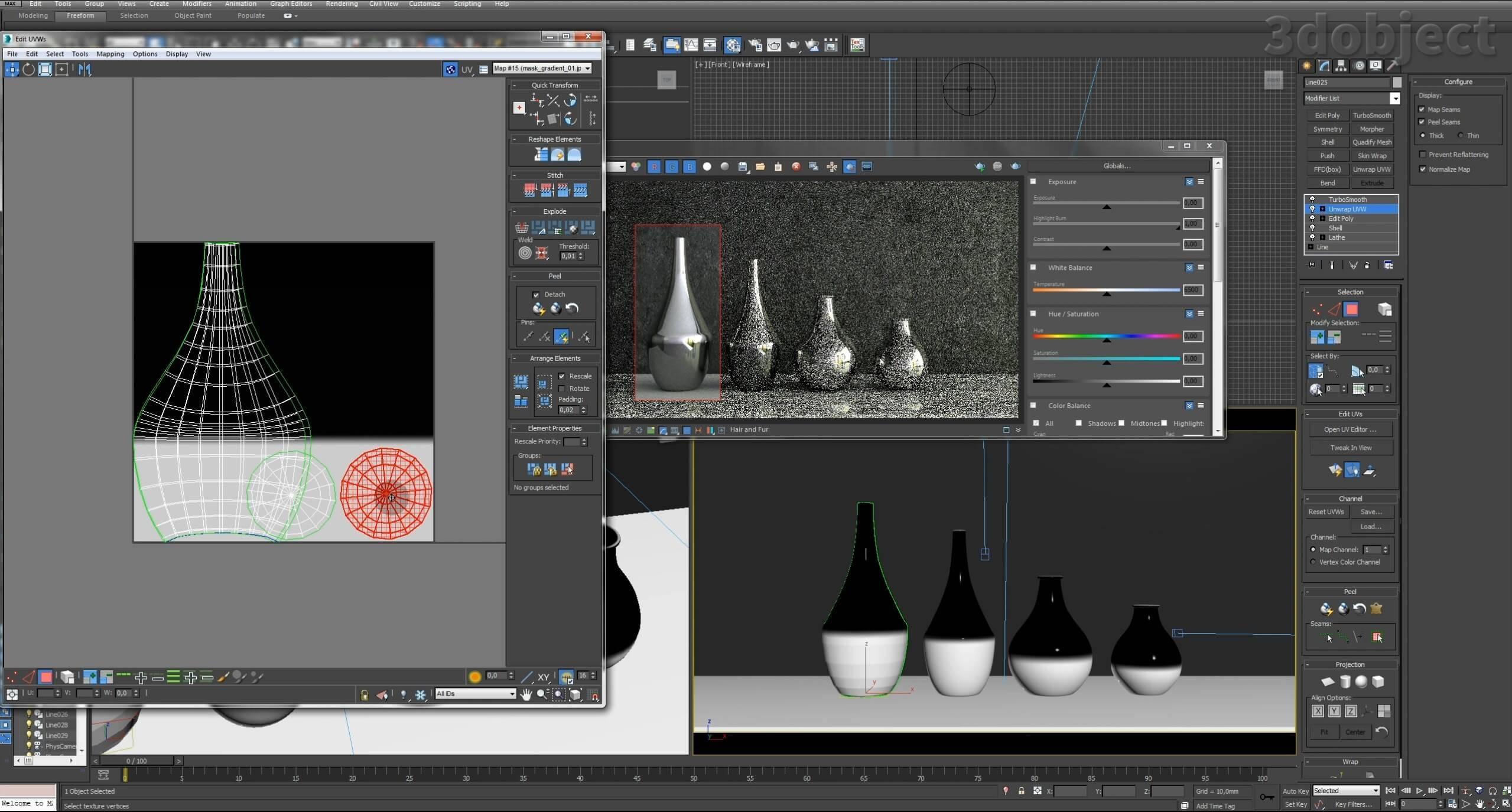Моделирование вазы. Текстурирование в 3d max. Gradient map = Gradient mask_11