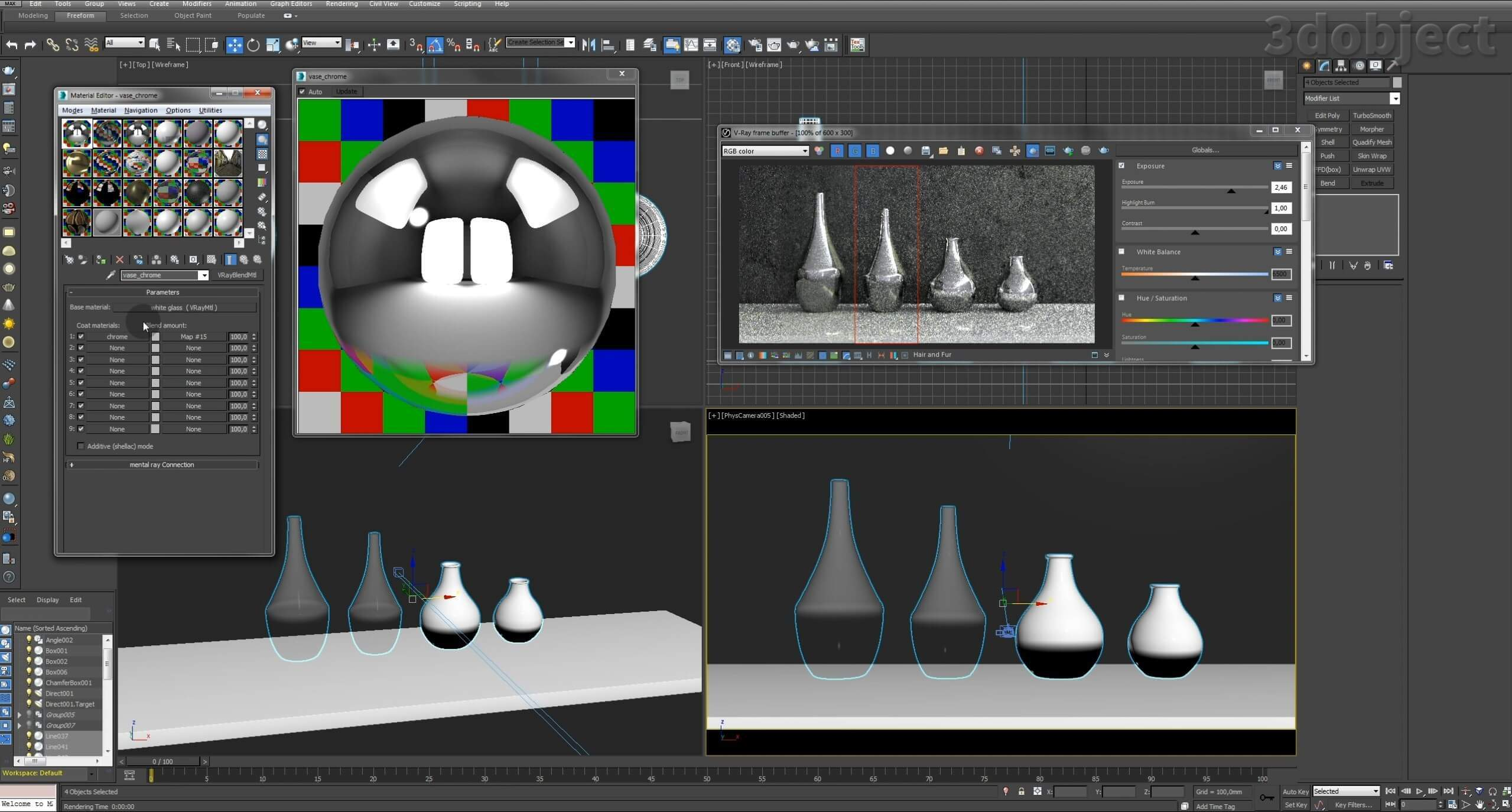 Моделирование вазы. Текстурирование в 3d max. Gradient map = Gradient mask_13