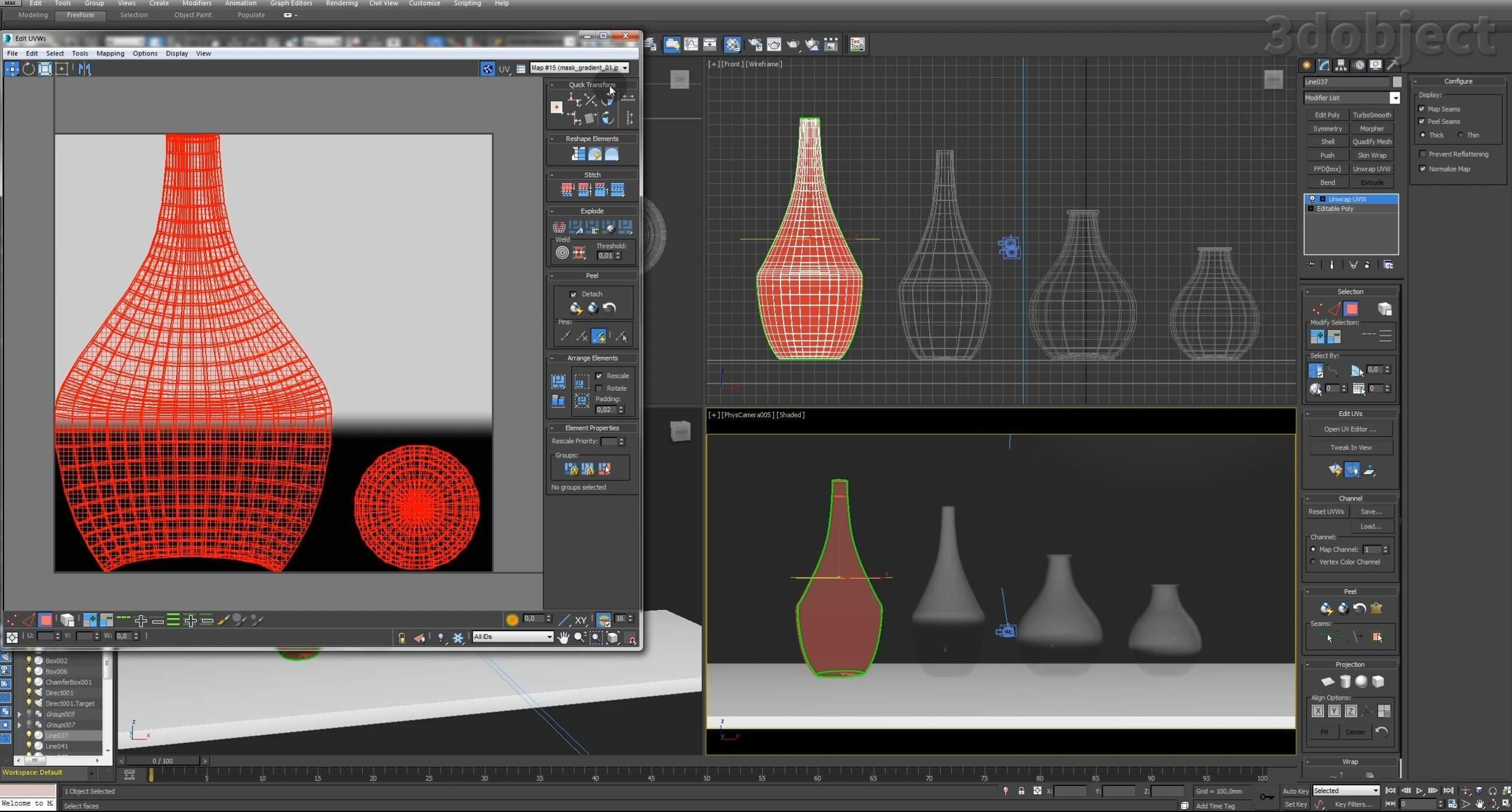 Моделирование вазы. Текстурирование в 3d max. Gradient map = Gradient mask_14