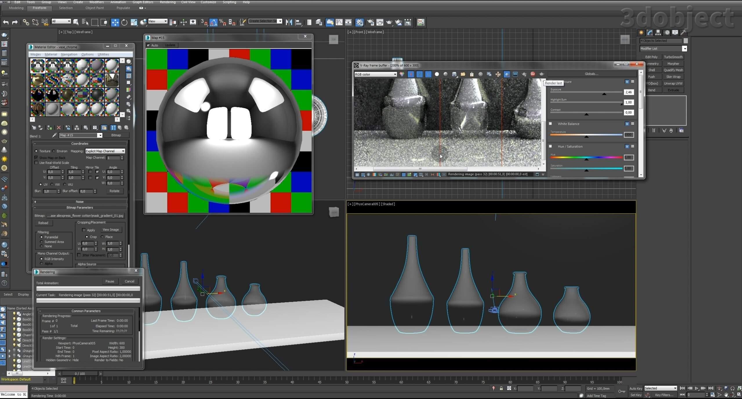 Моделирование вазы. Текстурирование в 3d max. Gradient map = Gradient mask_15