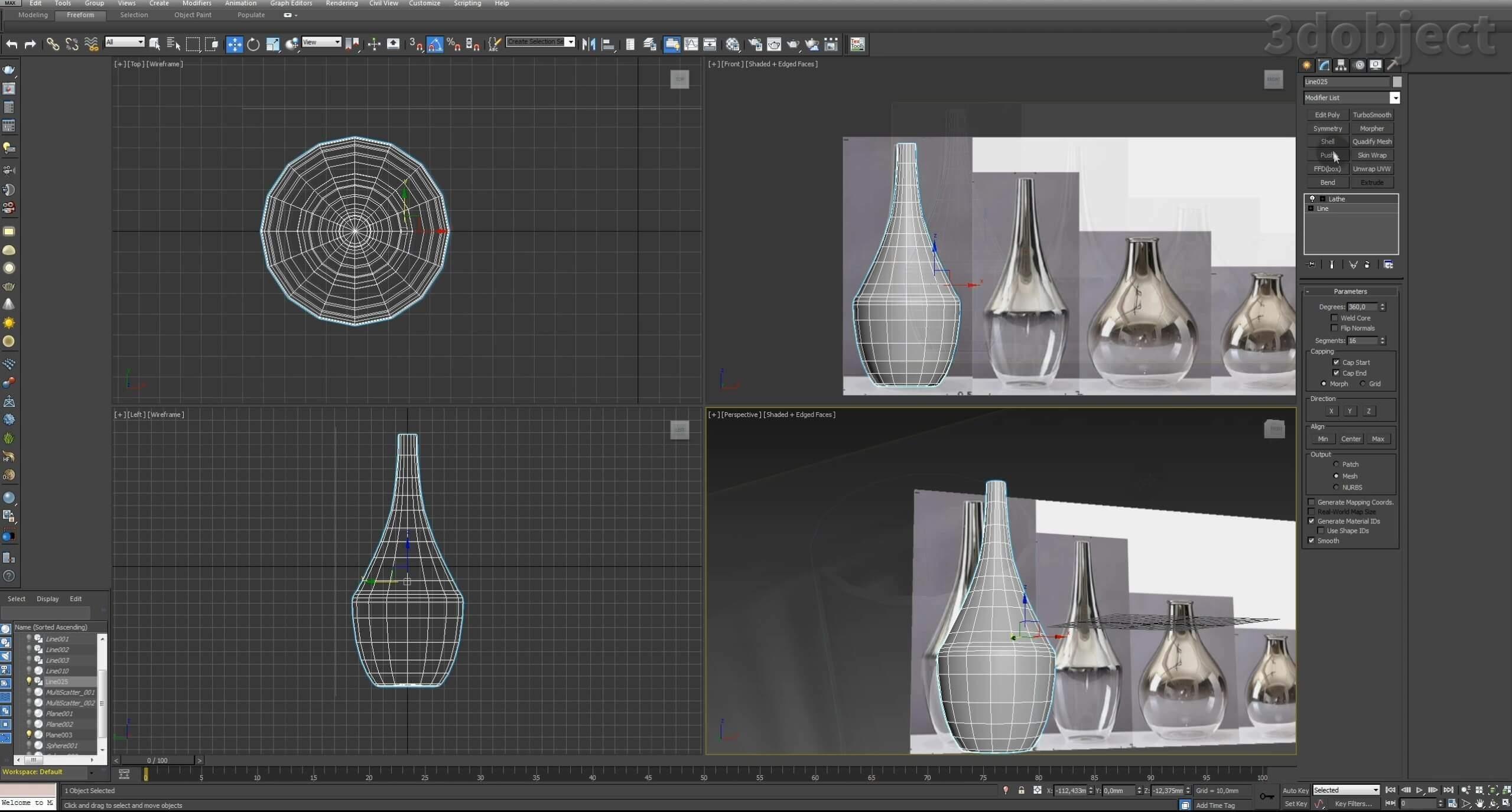 Моделирование вазы. Текстурирование в 3d max. Gradient map = Gradient mask_2
