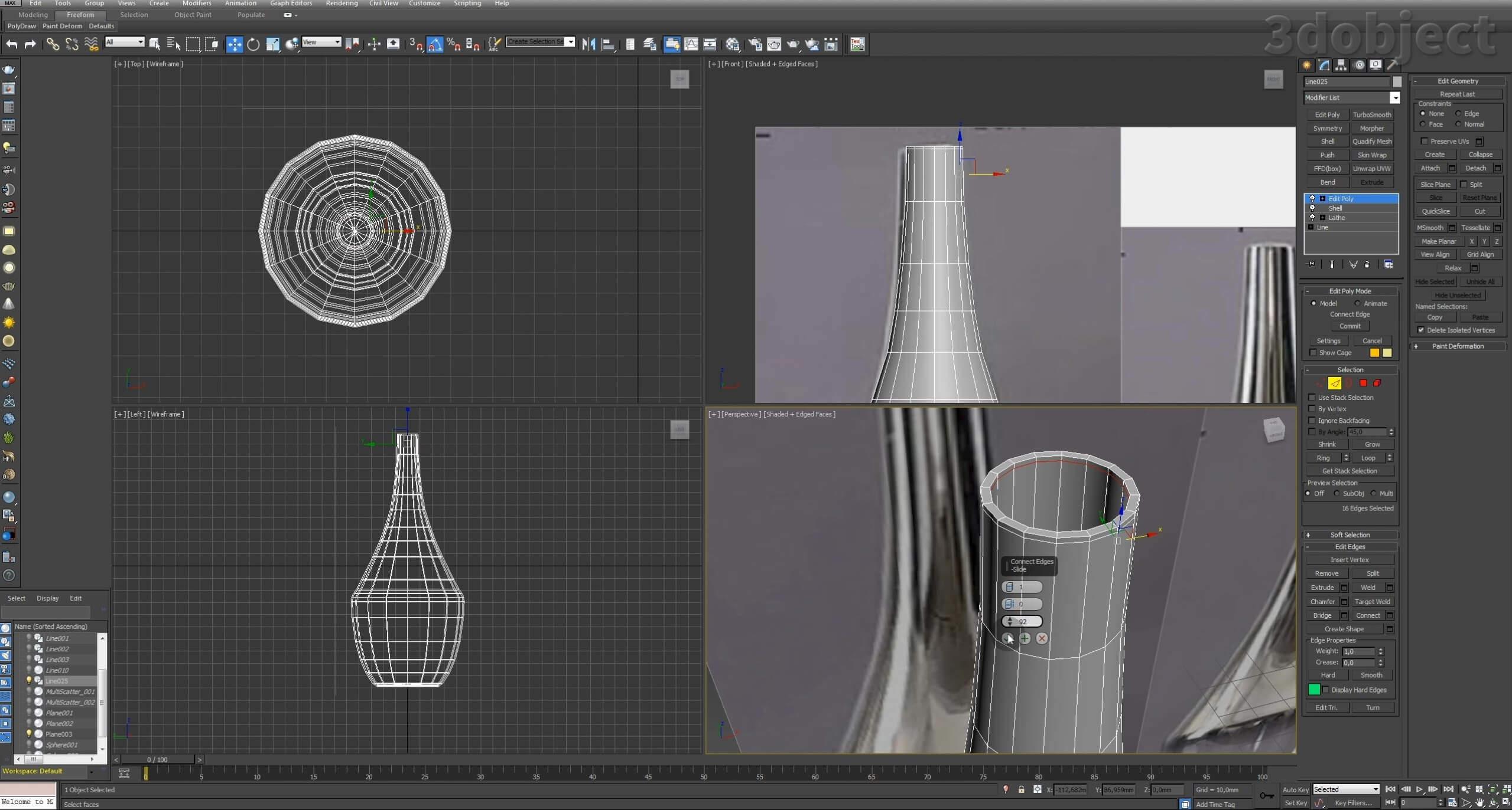 Моделирование вазы. Текстурирование в 3d max. Gradient map = Gradient mask_3