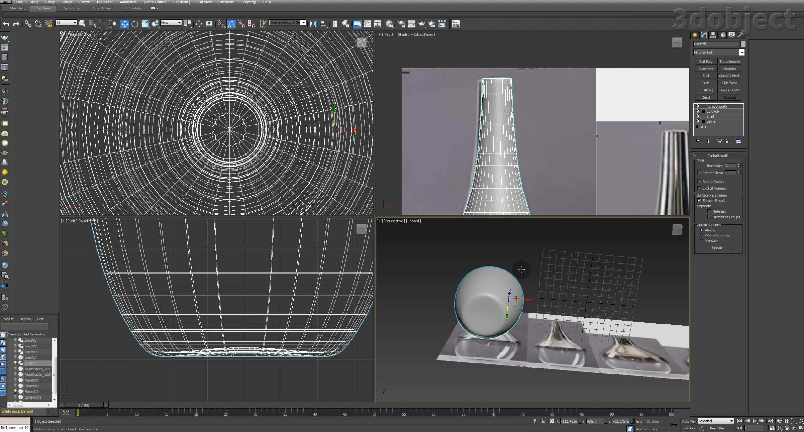 Моделирование вазы. Текстурирование в 3d max. Gradient map = Gradient mask_4