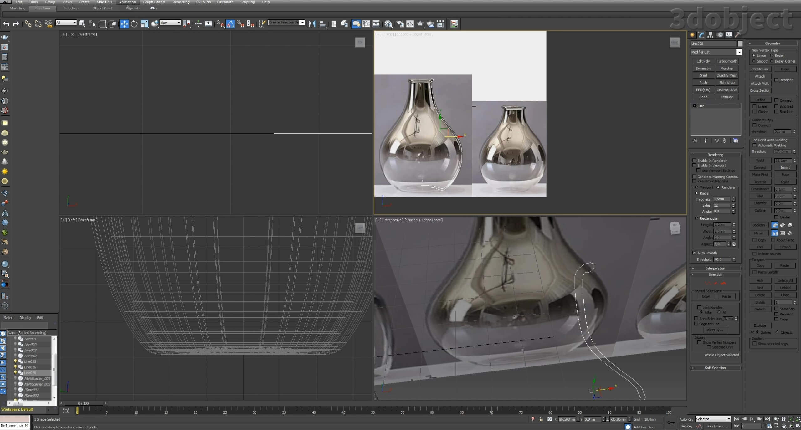 Моделирование вазы. Текстурирование в 3d max. Gradient map = Gradient mask_5