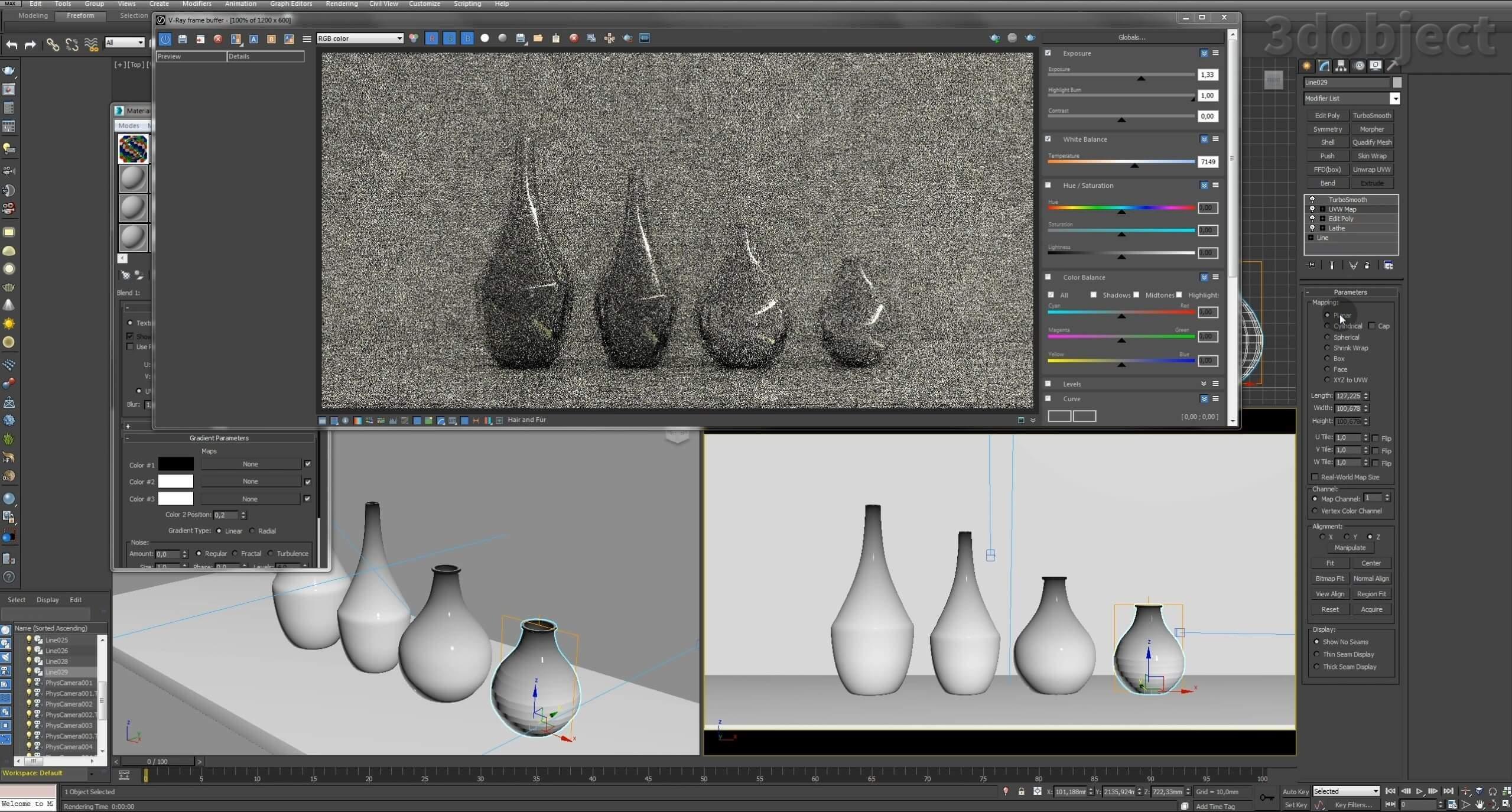 Моделирование вазы. Текстурирование в 3d max. Gradient map = Gradient mask_6