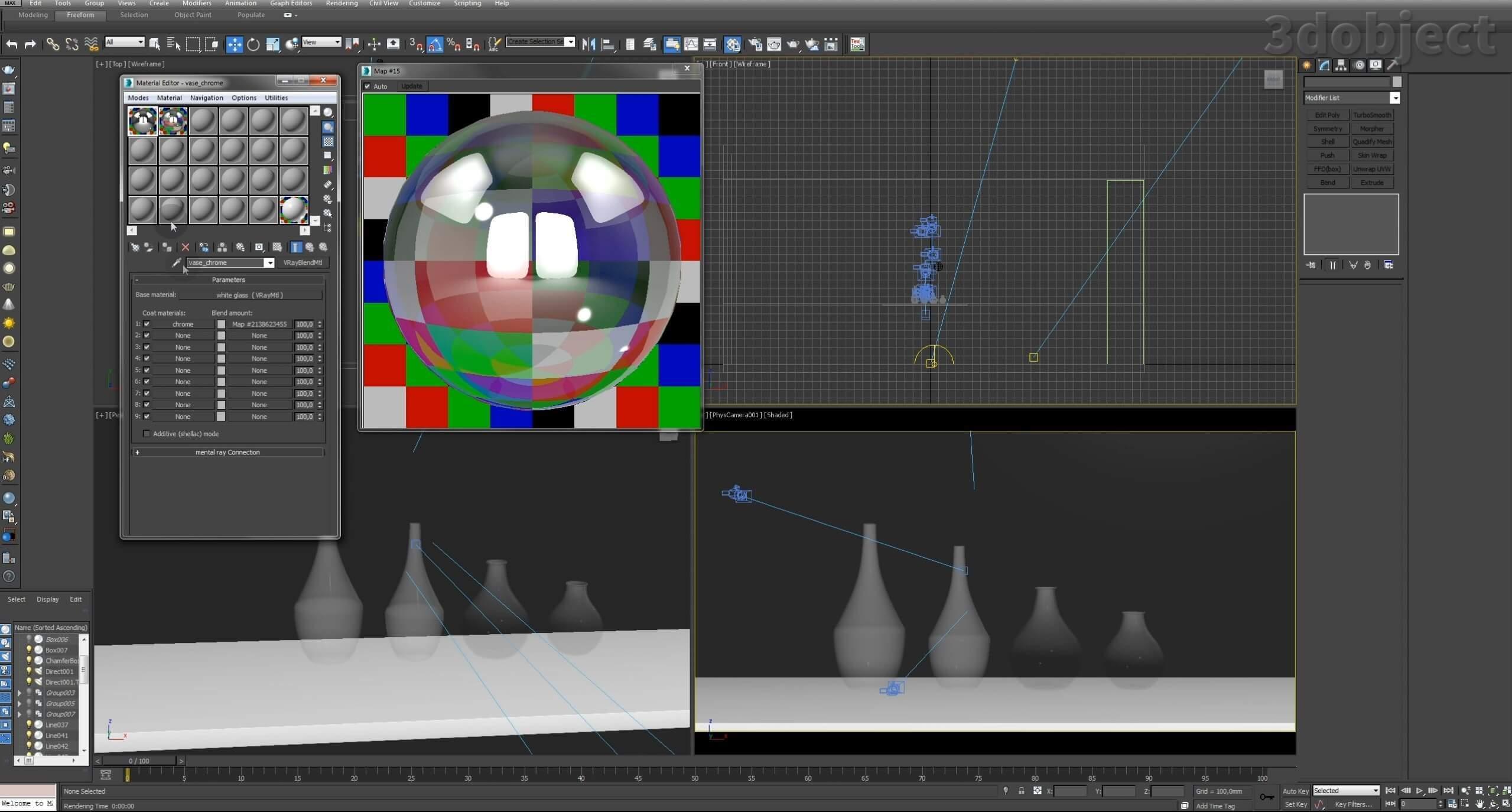 Моделирование вазы. Текстурирование в 3d max. Gradient map = Gradient mask_7