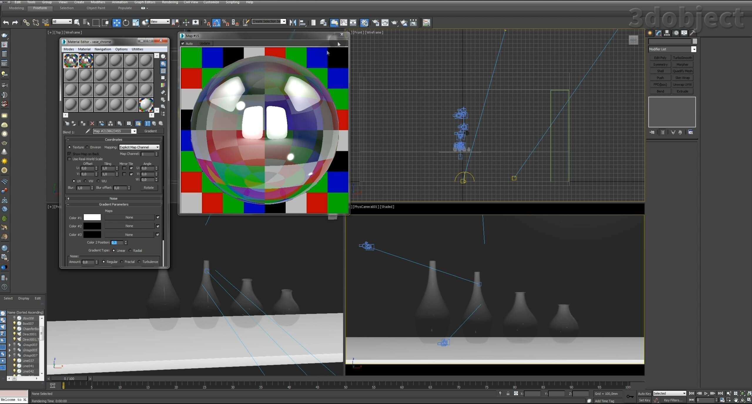 Моделирование вазы. Текстурирование в 3d max. Gradient map = Gradient mask_8