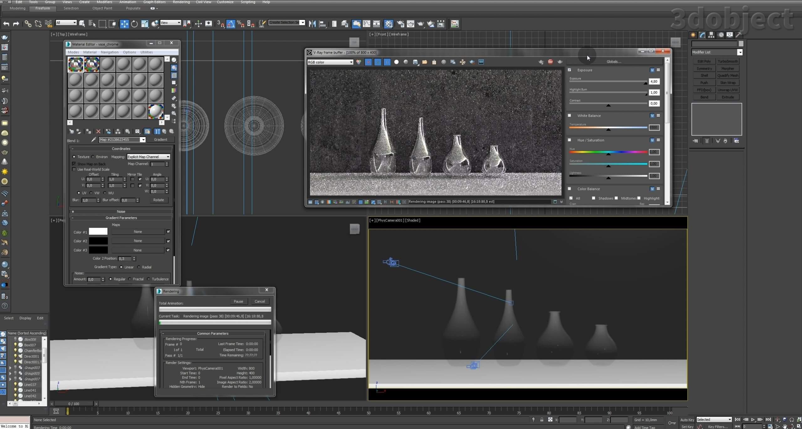 Моделирование вазы. Текстурирование в 3d max. Gradient map = Gradient mask_9