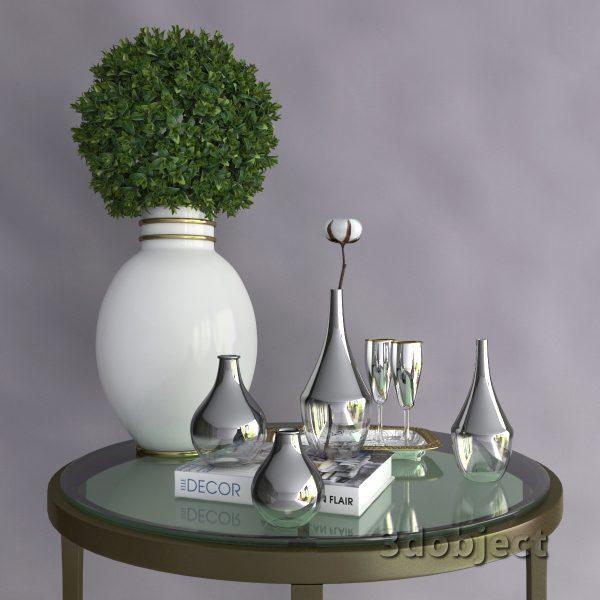 3d модель вазы с aliexpress и растений, Самшит и Хлопчатника_1