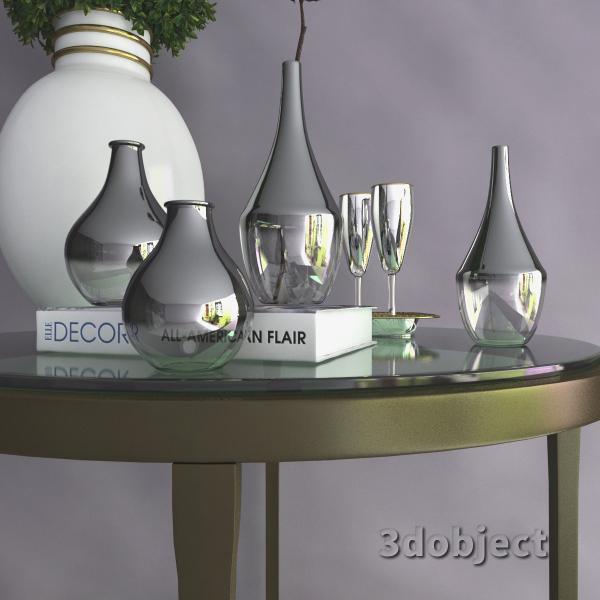 3d модель вазы с aliexpress и растений, Самшит и Хлопчатника_3