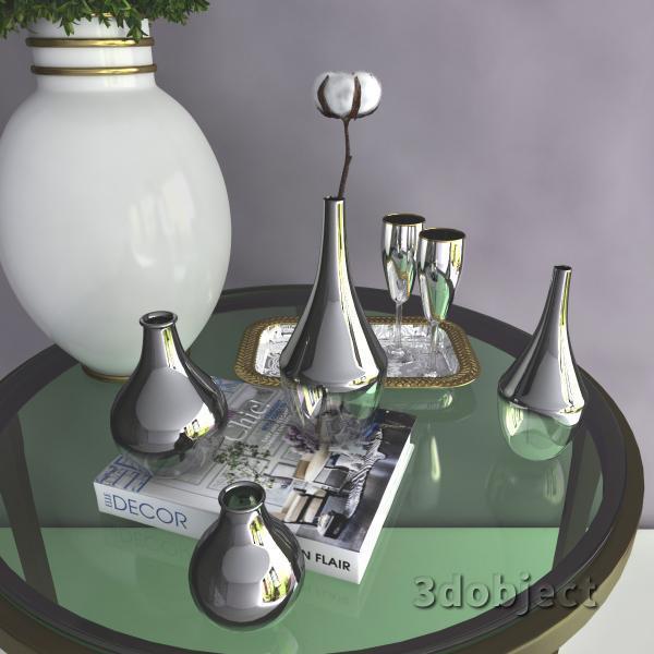 3d модель вазы с aliexpress и растений, Самшит и Хлопчатника_4