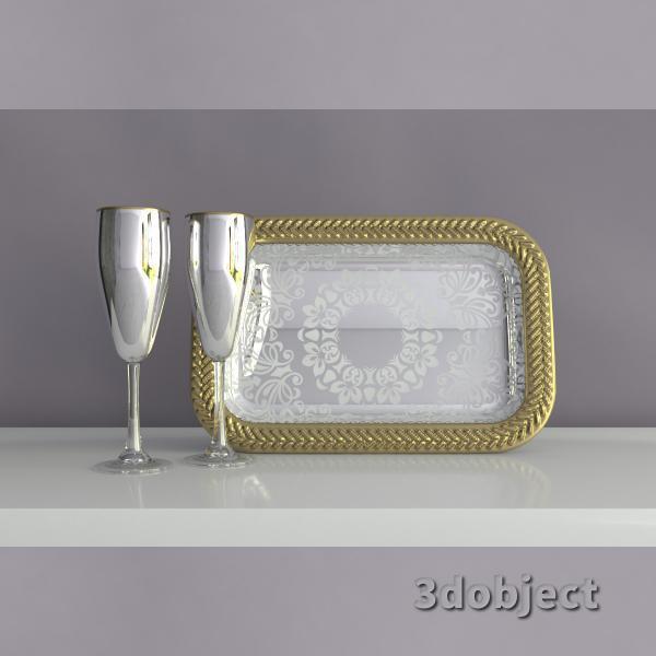 3d модель хромированных декоративного подноса и бокалов под шампанское