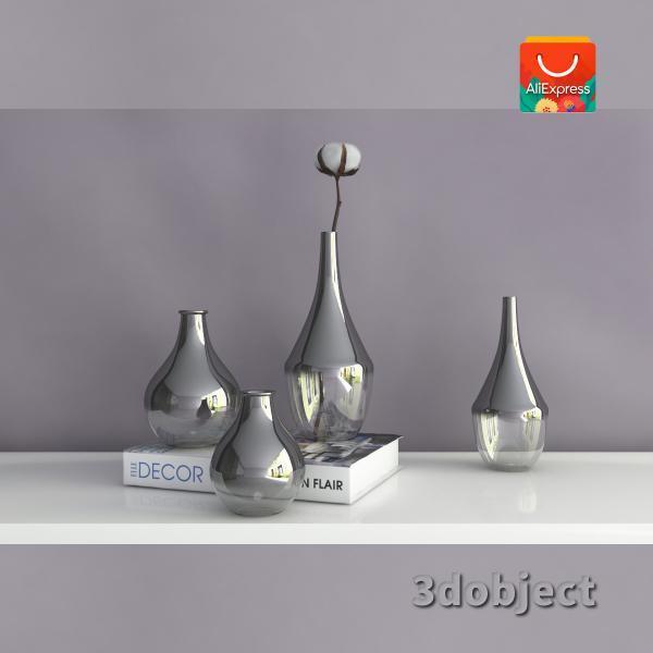 3d модель вазы с aliexpress и растения хлопчатник