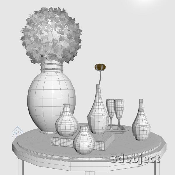 3d модель вазы с aliexpress и растений, Самшит и Хлопчатника_grid