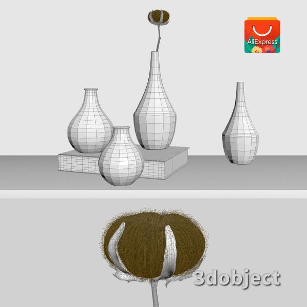 3d модель вазы с aliexpress и растения хлопчатник_grid