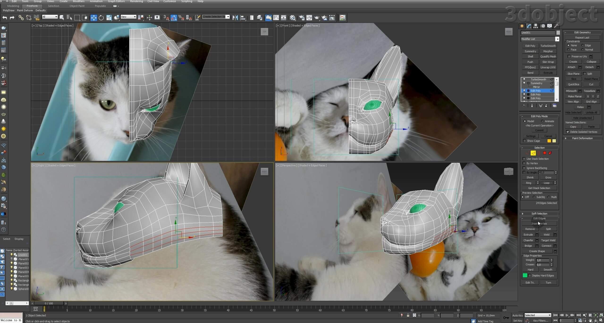 Моделирование кота в 3d max. часть 2_ 11