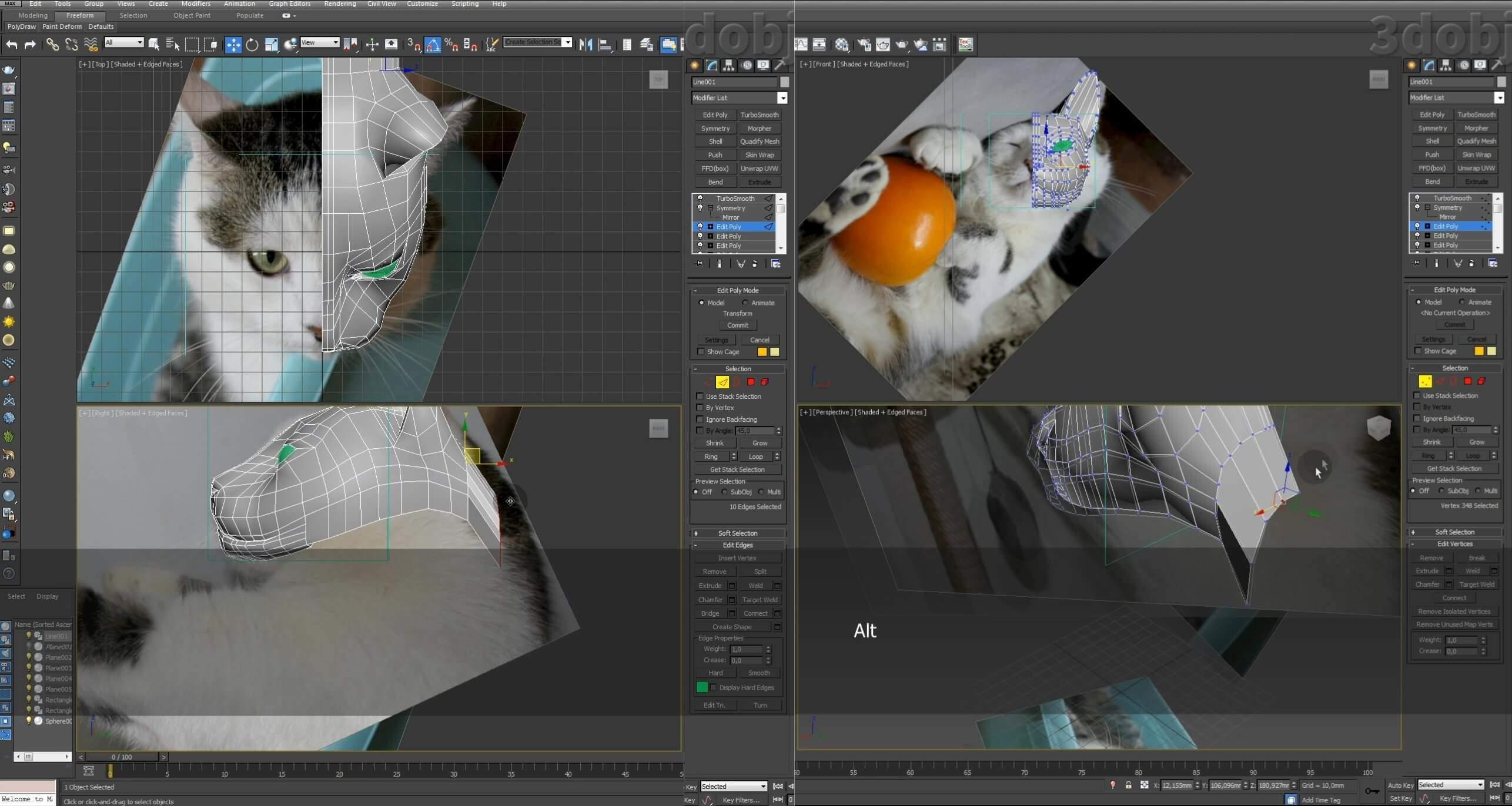 Моделирование кота в 3d max. часть 2_ 12
